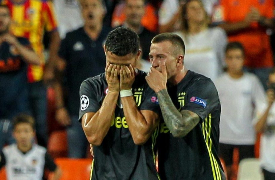 Cristiano Ronaldo left the field in tears after being sent off at Valencia
