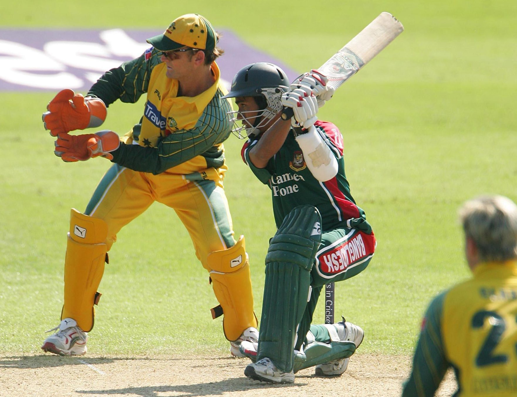 Mohammad Ashraful in action against Australia in the Natwest Series in England in 2005
