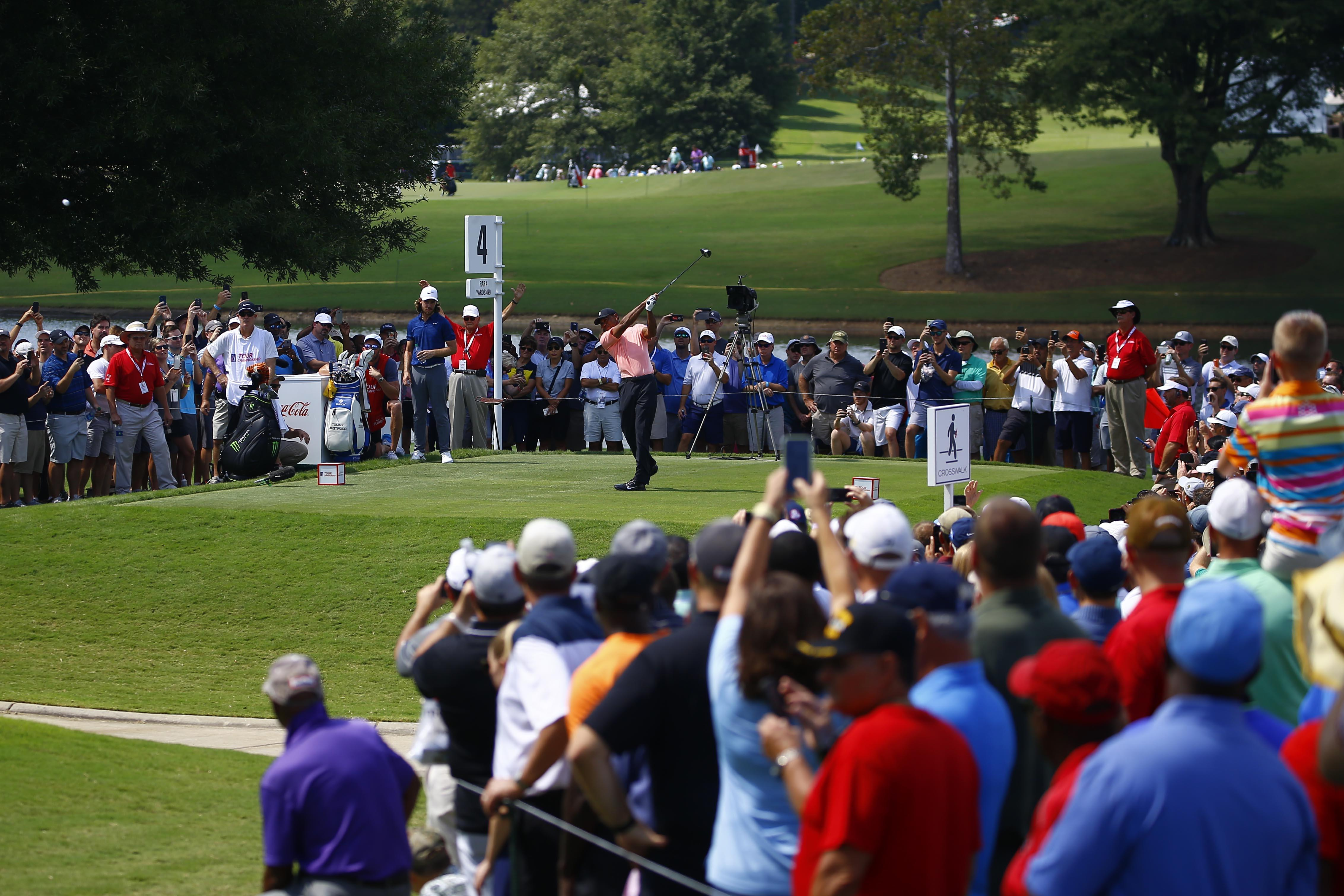 Tiger Woods drew a large crowd on Thursday as he always does