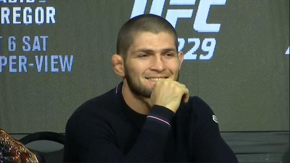 Khabib Nurmagomedov was left sitting in quiet bemusement for much of the event