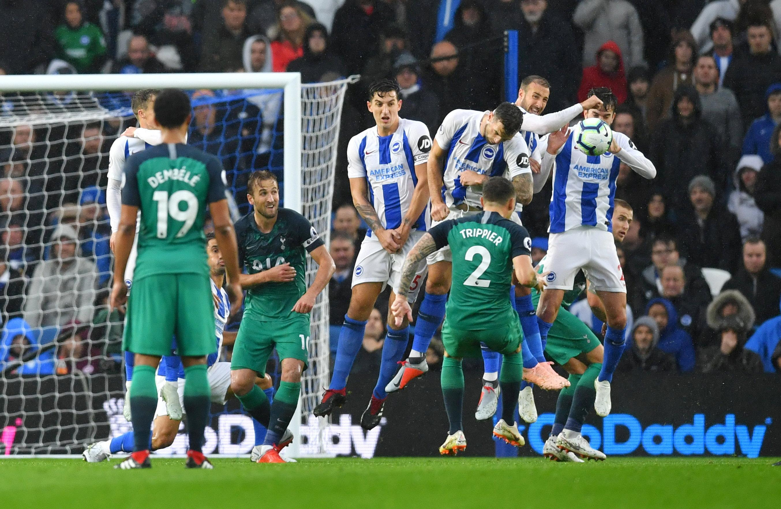 Kieran Trippier saw his free-kick hit Glenn Murray on the arm leading to the pen