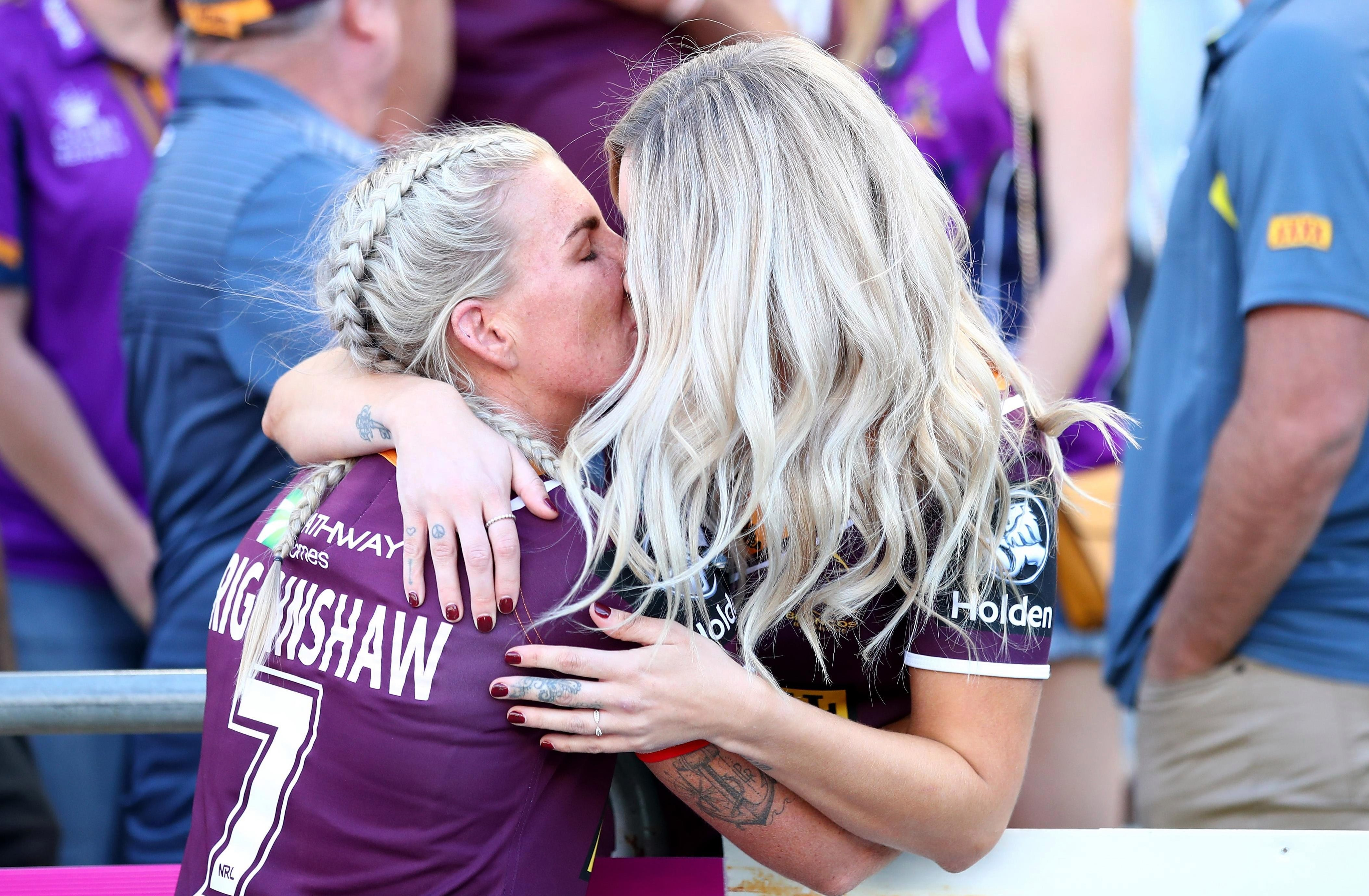 Ali Brigginshaw andKate Daly celebrate after the Grand Final