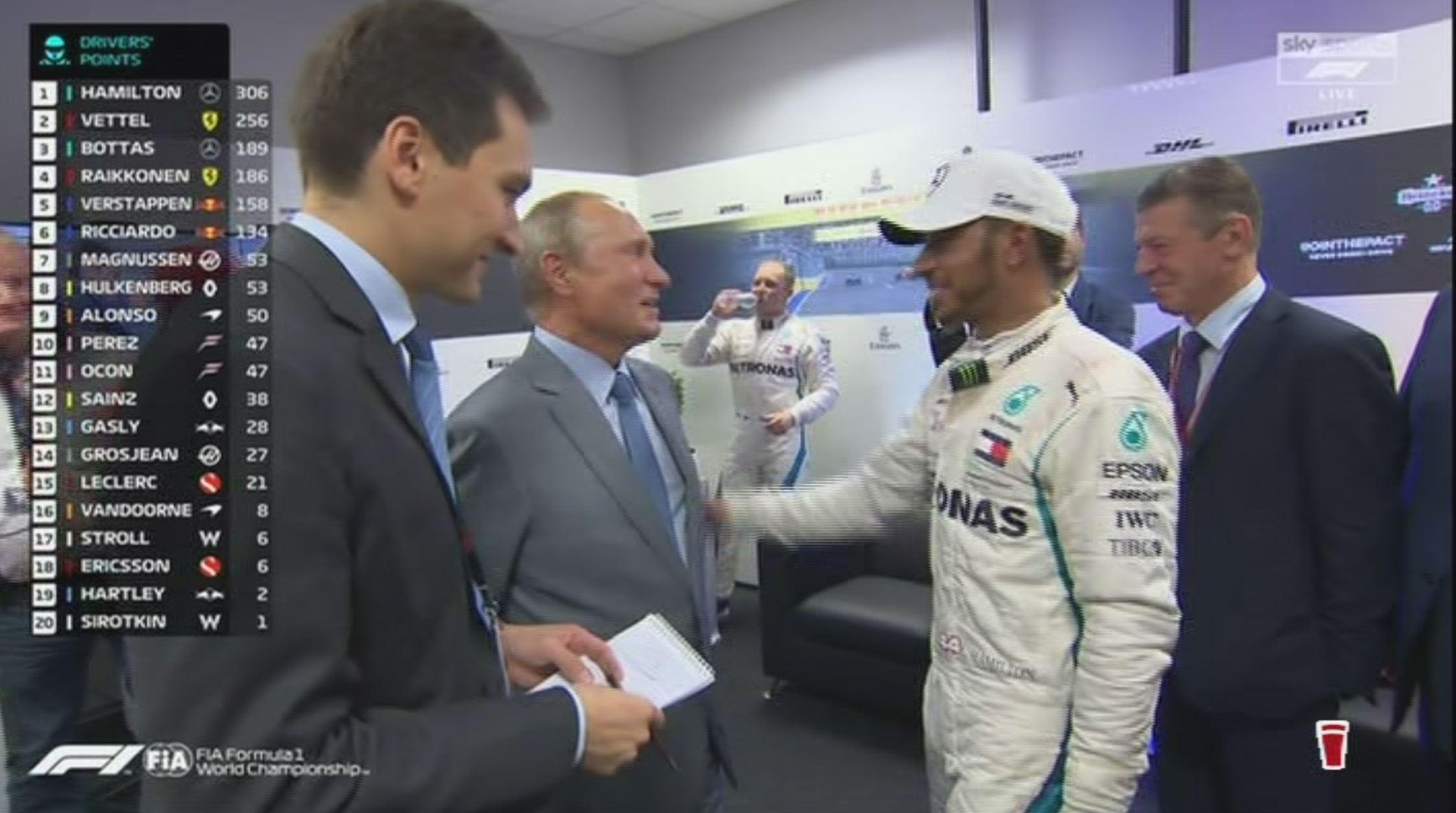 Lewis Hamilton pleads his innocence to the Russian president