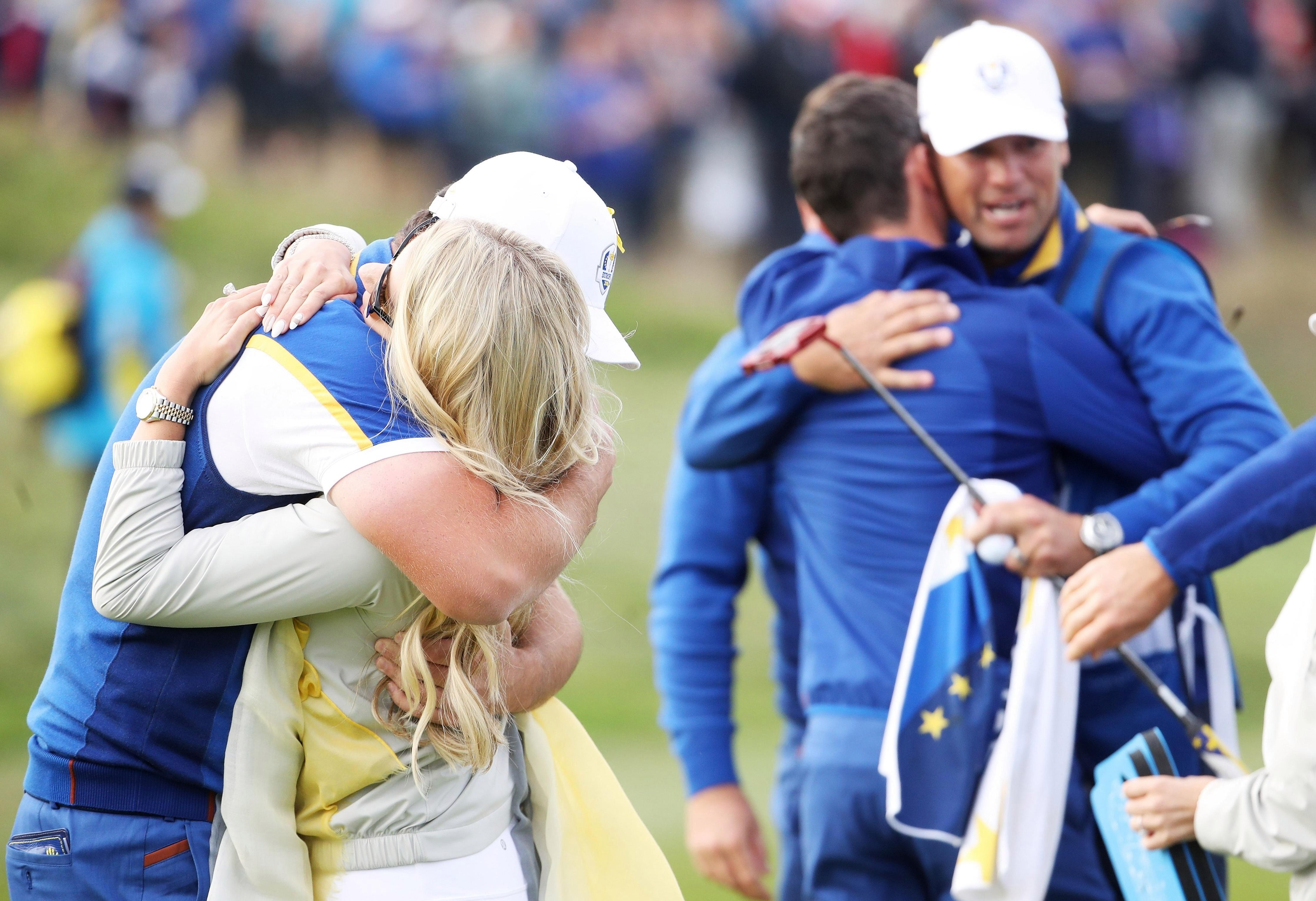 It was hugs all round as the Ryder Cup came back to Europe