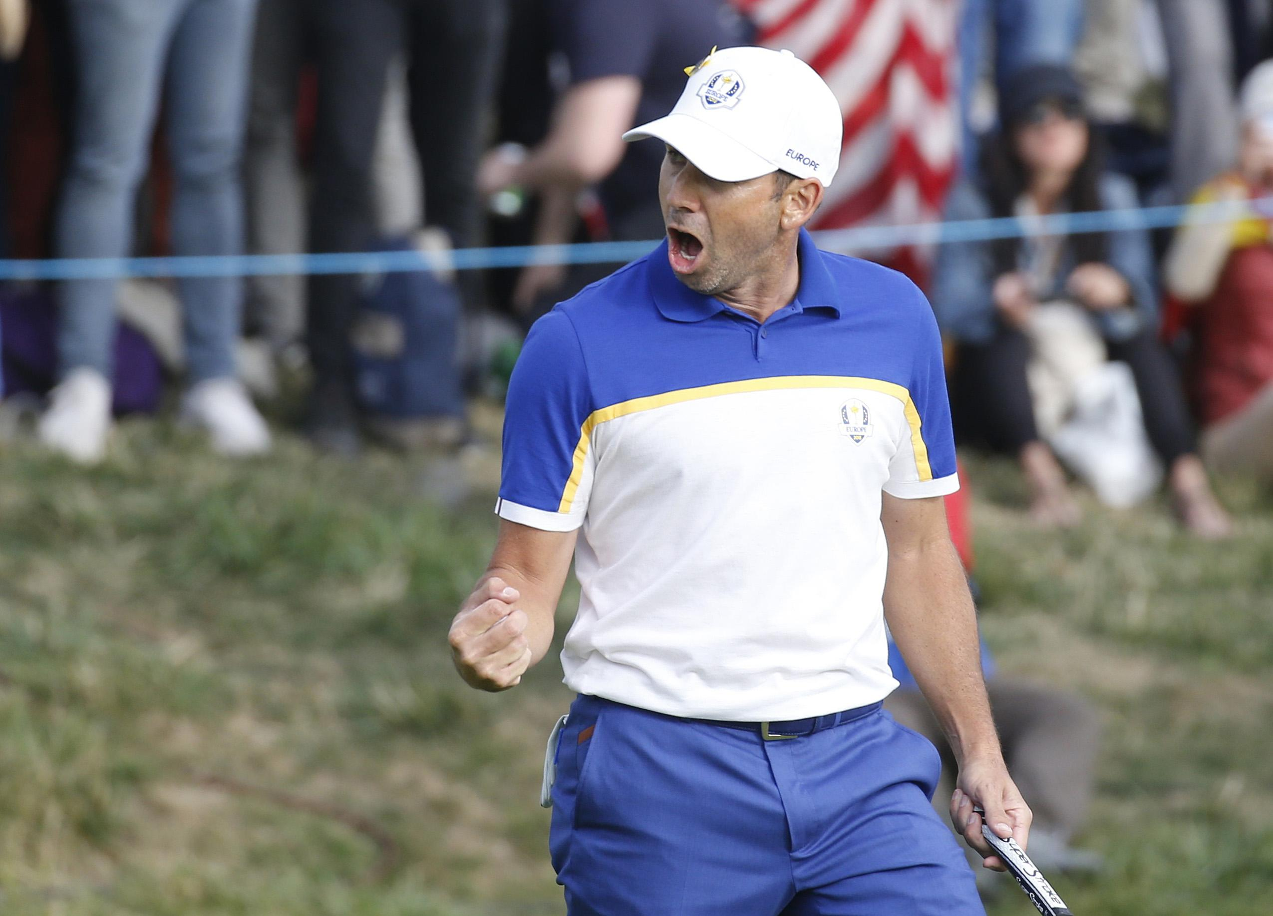 Sergio Garcia was pumped up on the final day of play in France