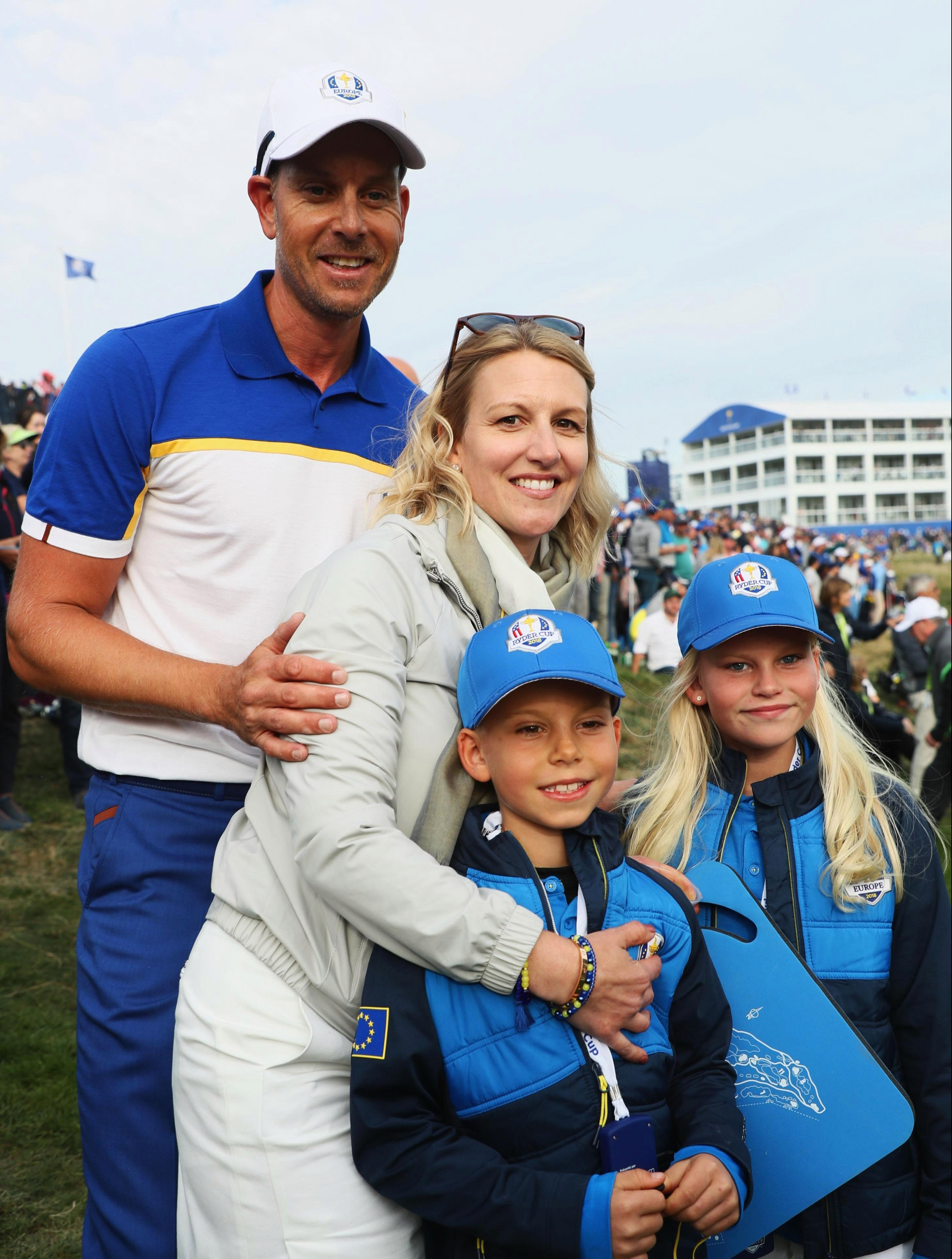 Henrik Stenson celebrated with his family after regaining the Ryder Cup