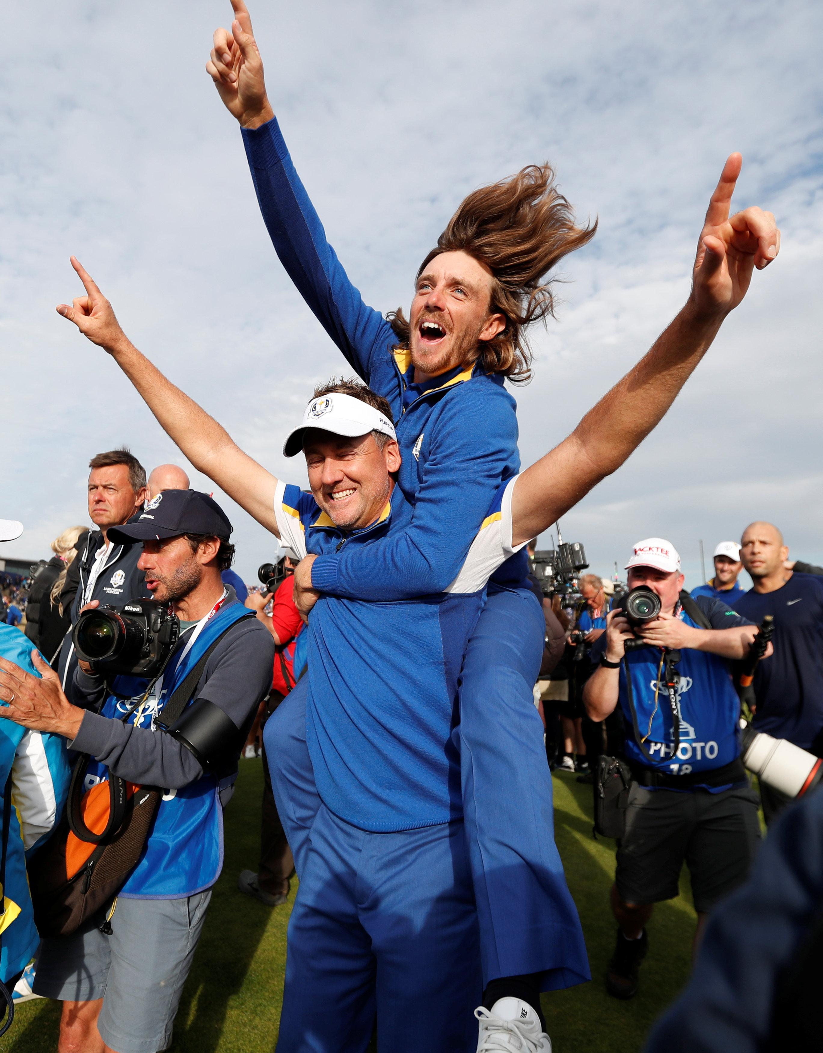 Fleetwood could not contain his joy after being on a winning European team for the first time