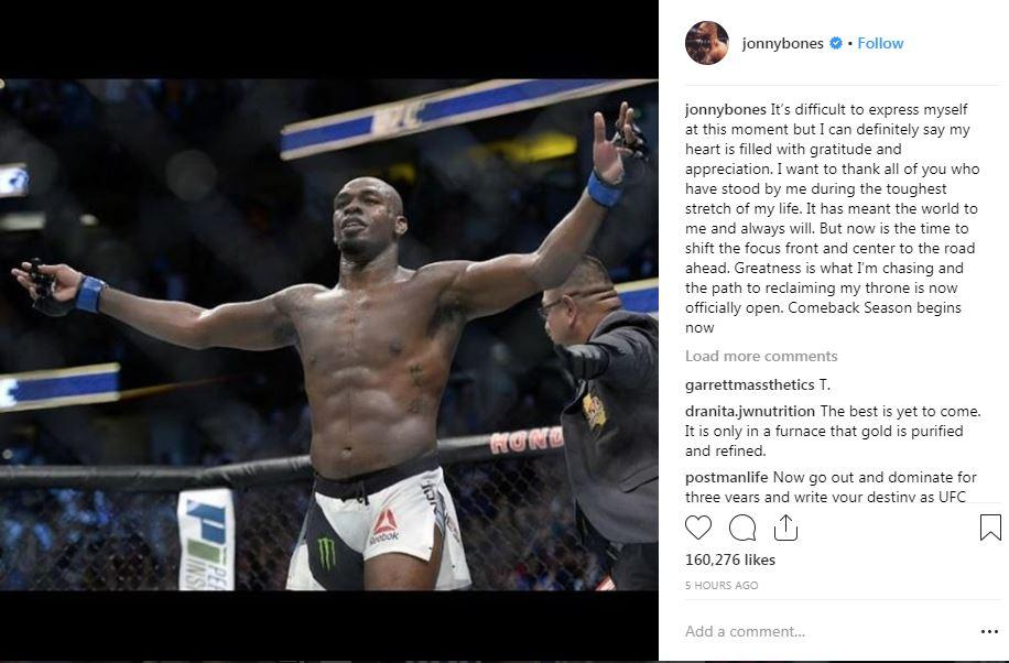 Jon Jones instantly took to Instagram after the verdict to post this message