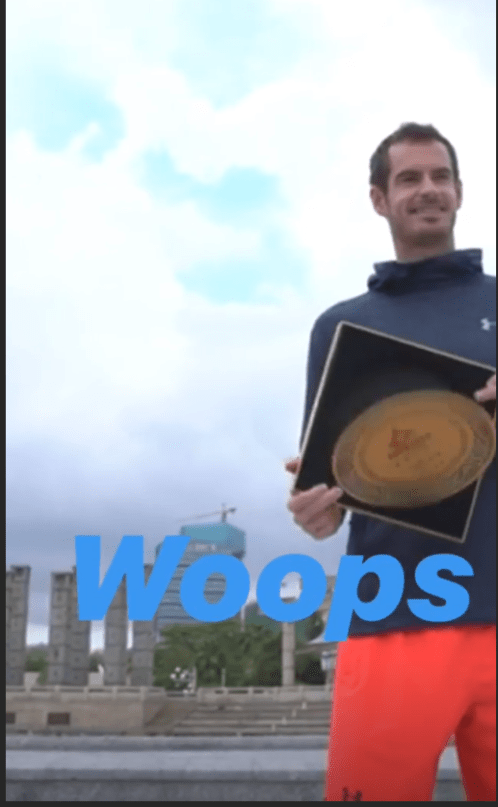 Murray was smiling with the commemorative plate when it fell out of the presentation box