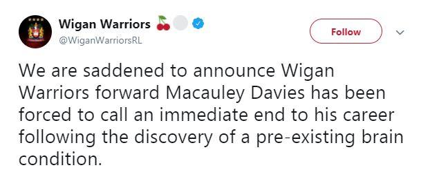 Wigan Warriors confirmed the sad news this afternoon
