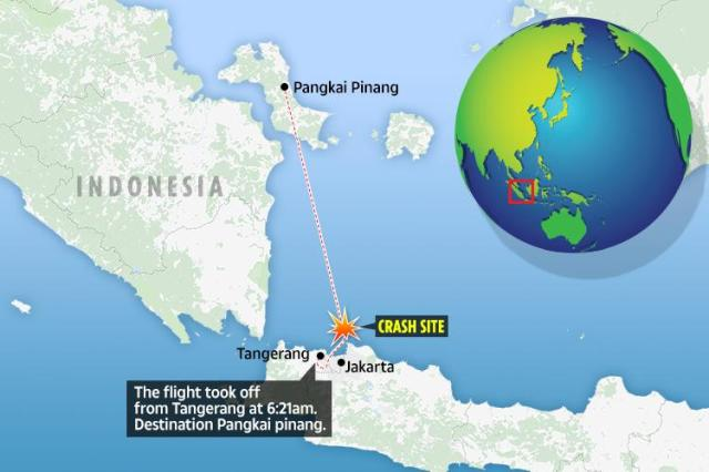 The passenger jet crashed into the sea shortly after take-off from Jakarta