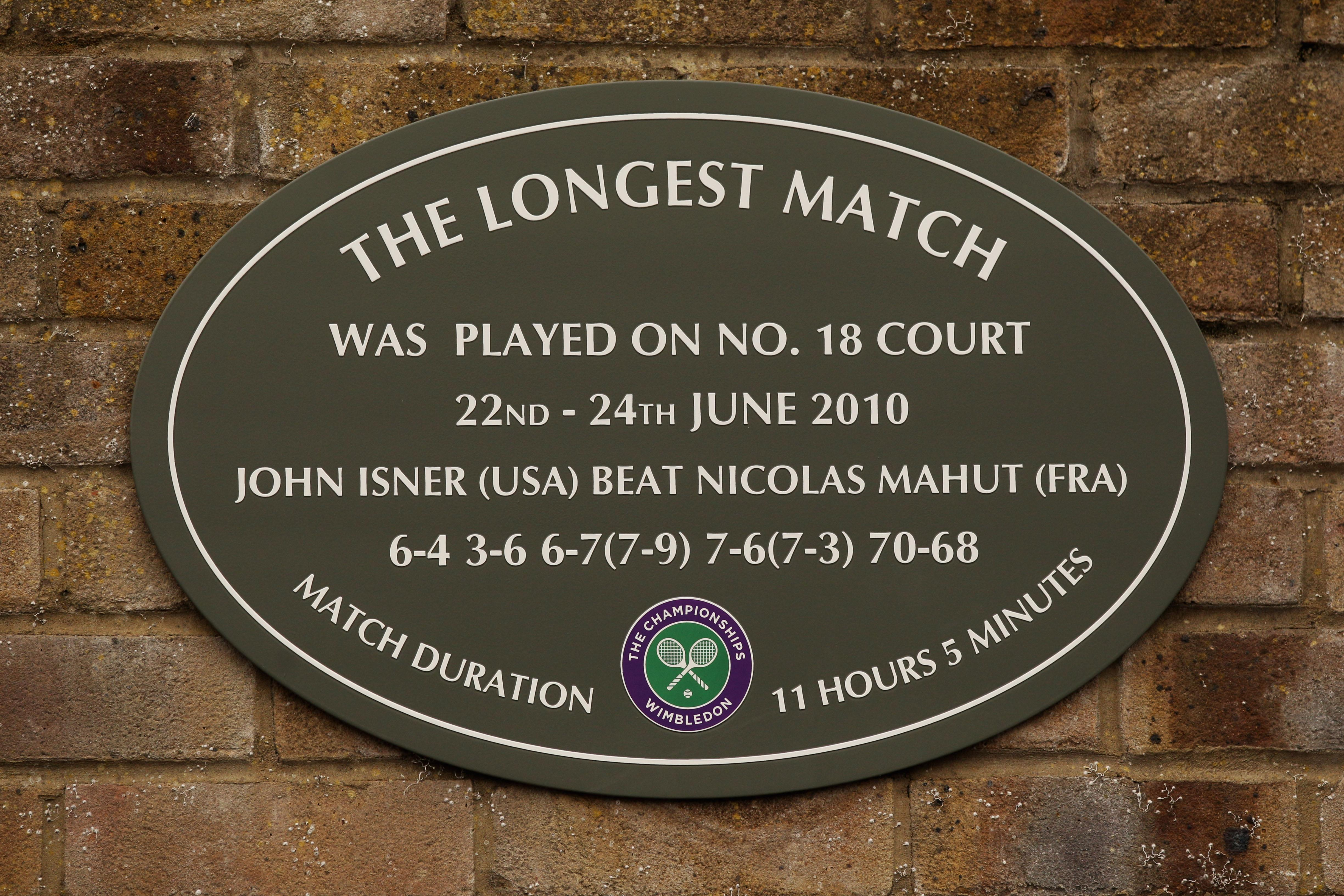 A plaque commemorating Isner and Mahut's match was put up at the All England Club
