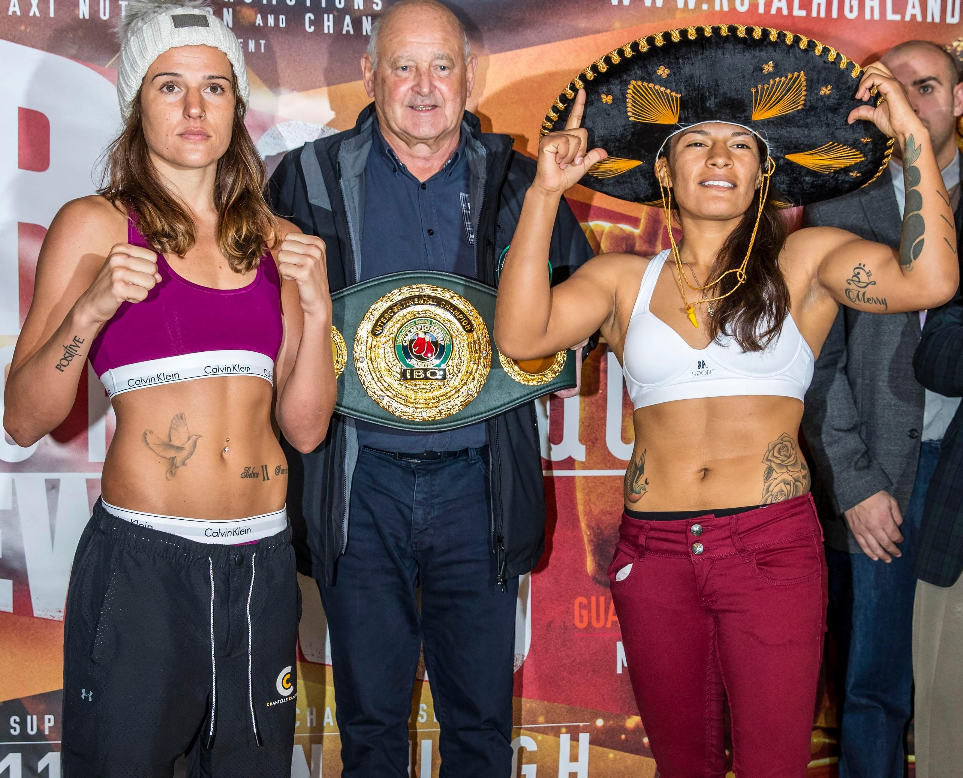 Pre-fight nerves? Chantelle at the weigh-in with Edith Ramos last November