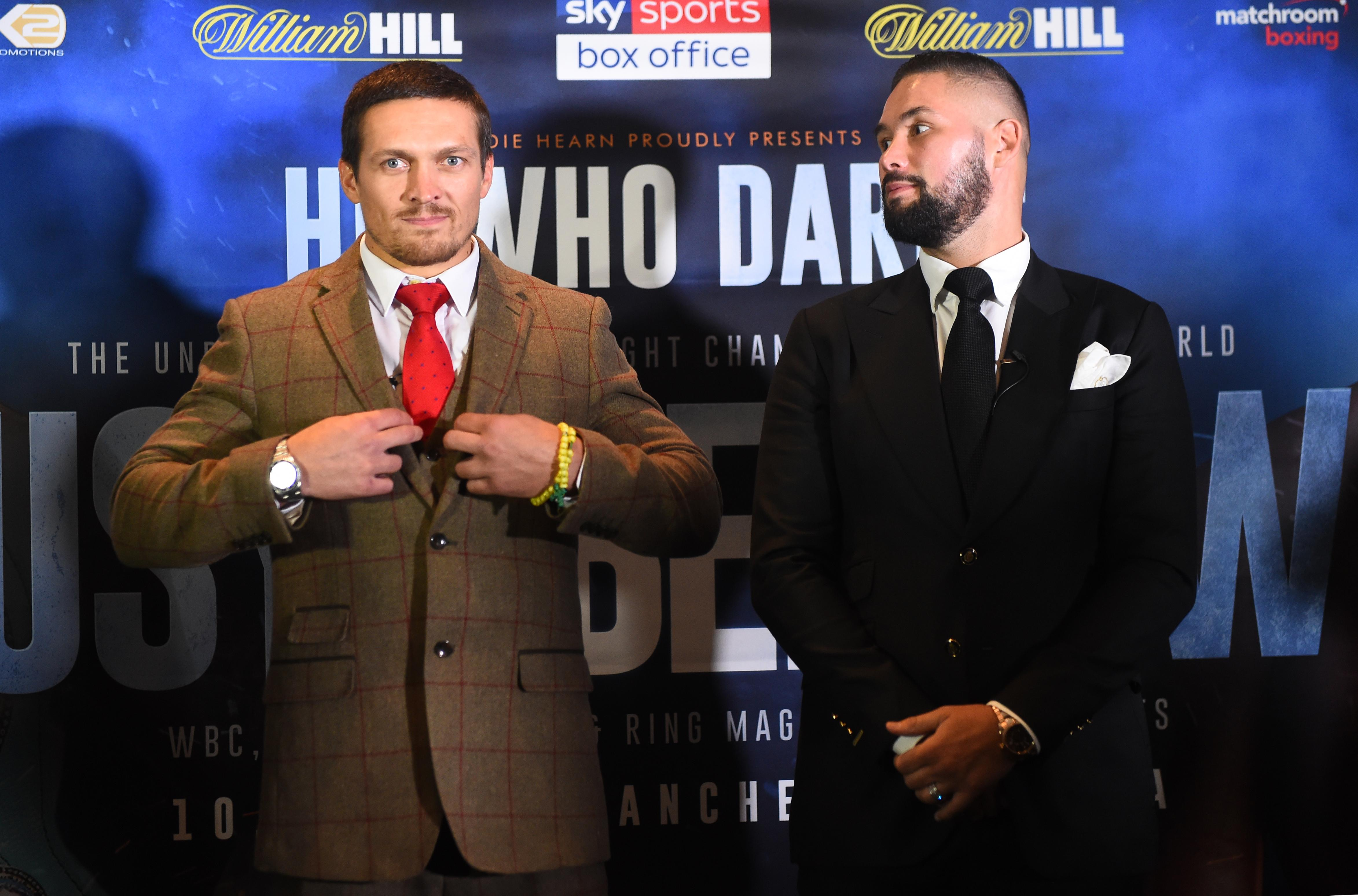Usyk, left, goes head-to-head with Tony Bellew on November 10 in Manchester