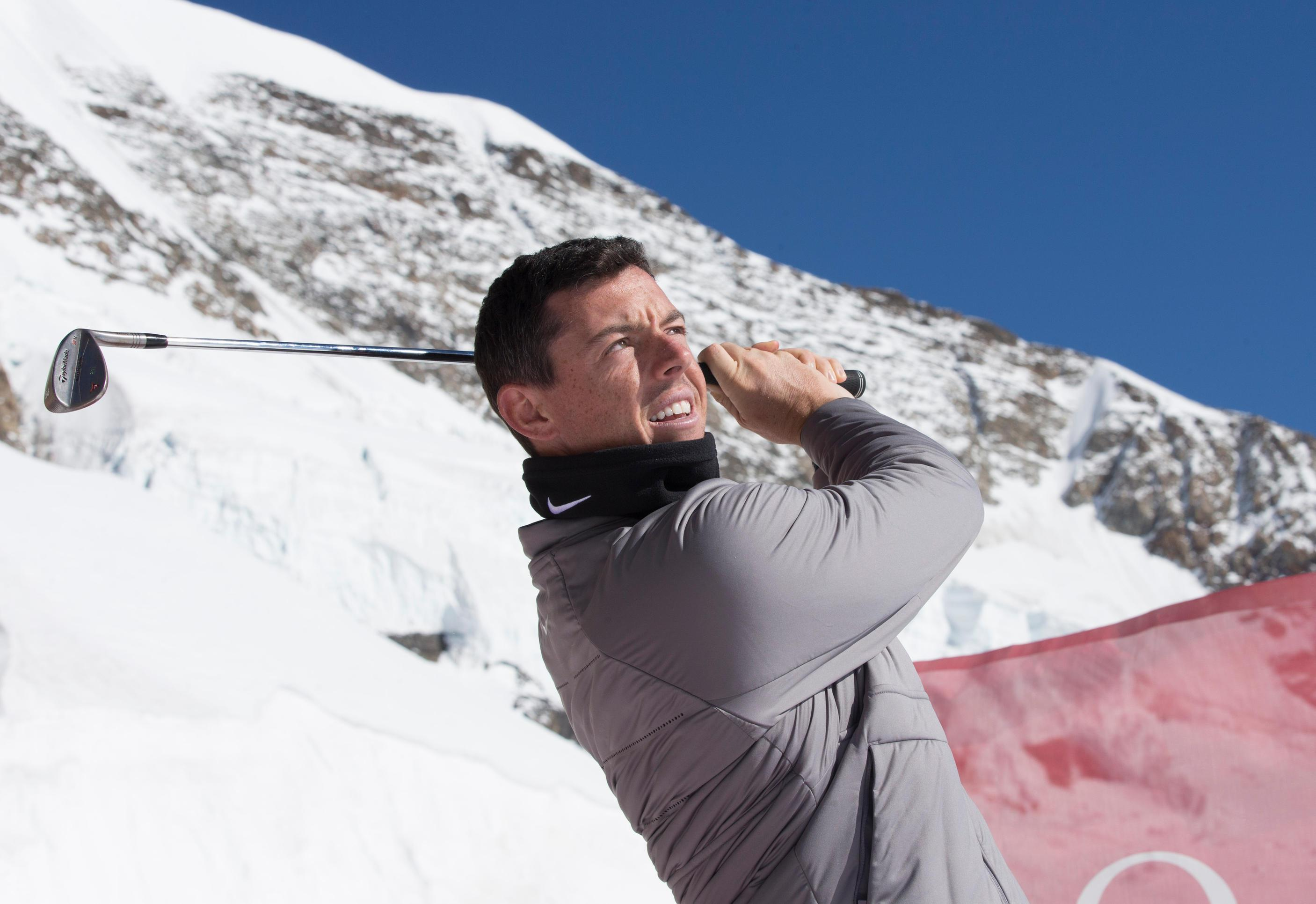 Northern Ireland hero Rory McIlroy has been out in Switzerland this month playing in a golf demonstration event on the Aletsch glacier of Jungfraujoch