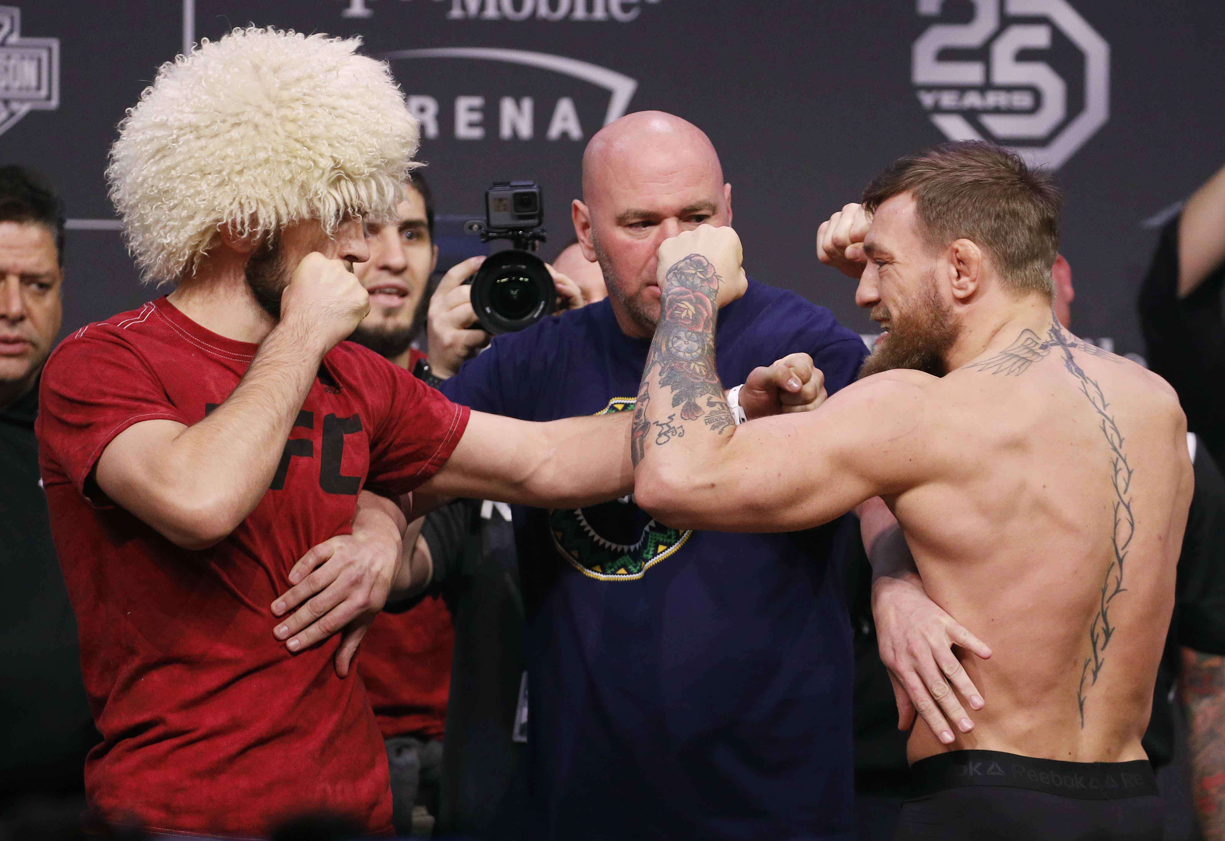 Tempers flared between McGregor and Nurmagedov at their weigh in on Friday