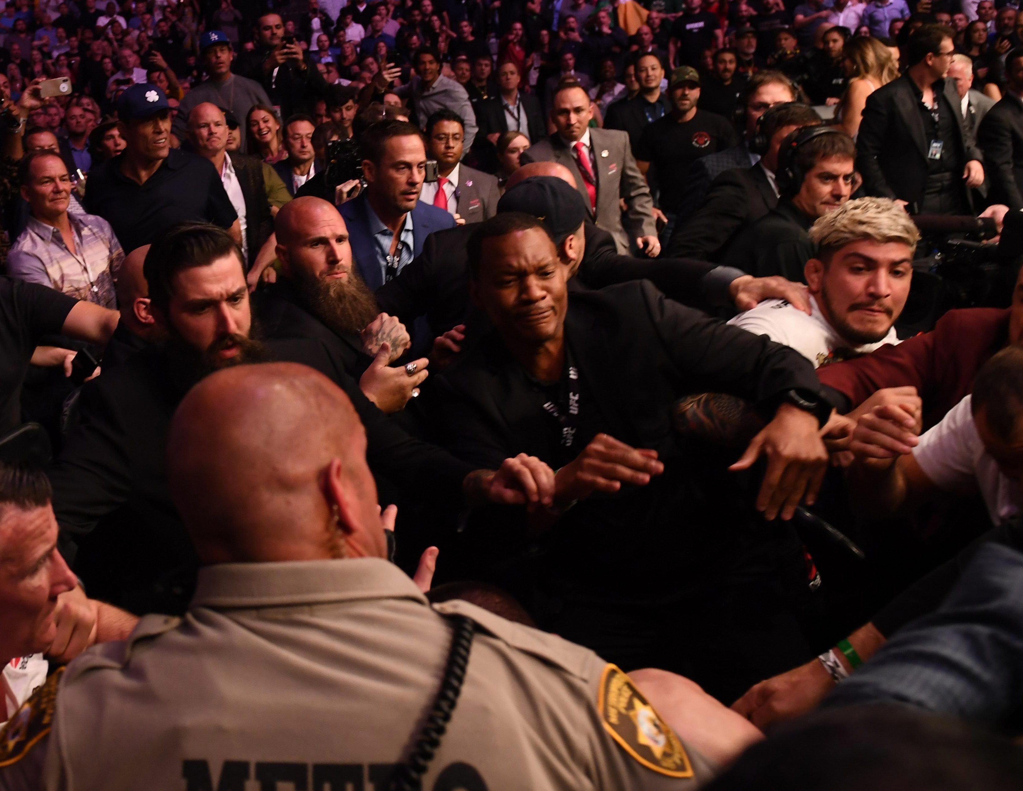 Dillon Danis is involved in a melee after UFC main event