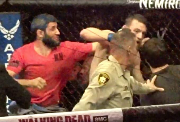 Two men landed heavy punches on Conor McGregor's head from the side and behind