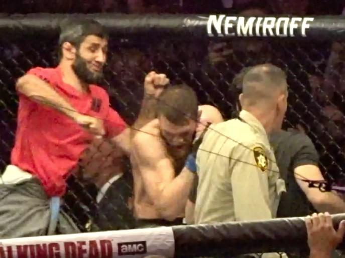 Members of Khabib Nurmagomedov's team jumped into the octagon after the fight