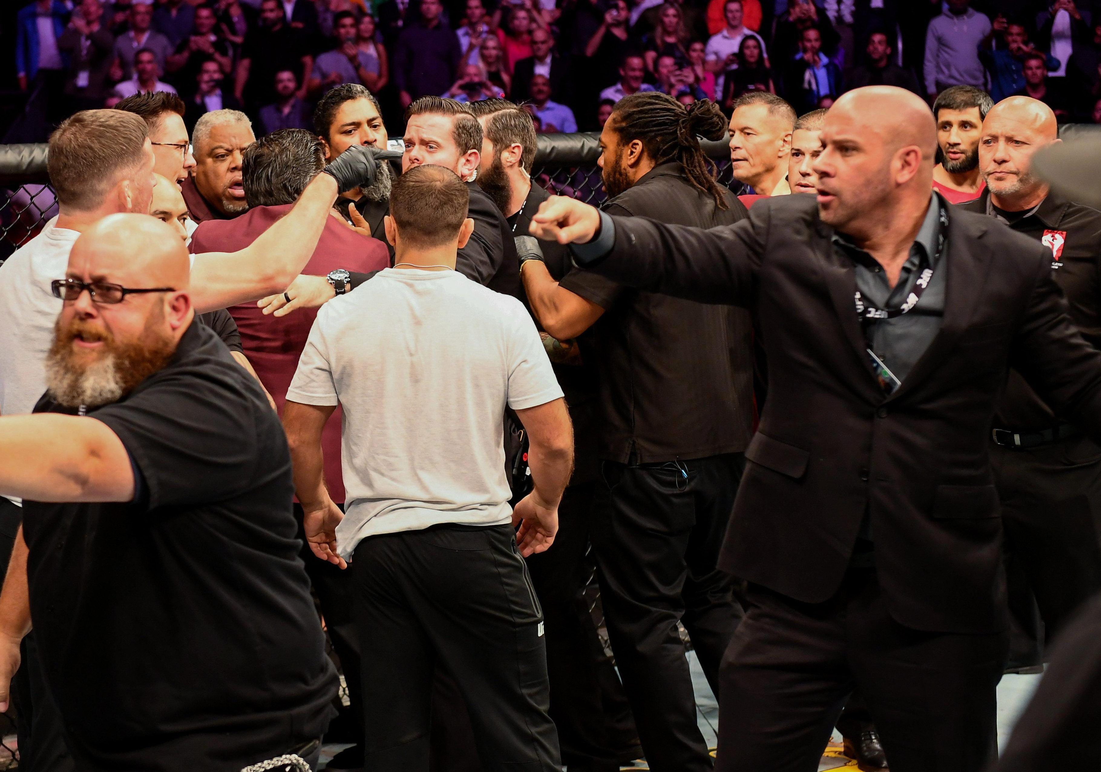 A brawl involving Conor McGregor broke out in the ring