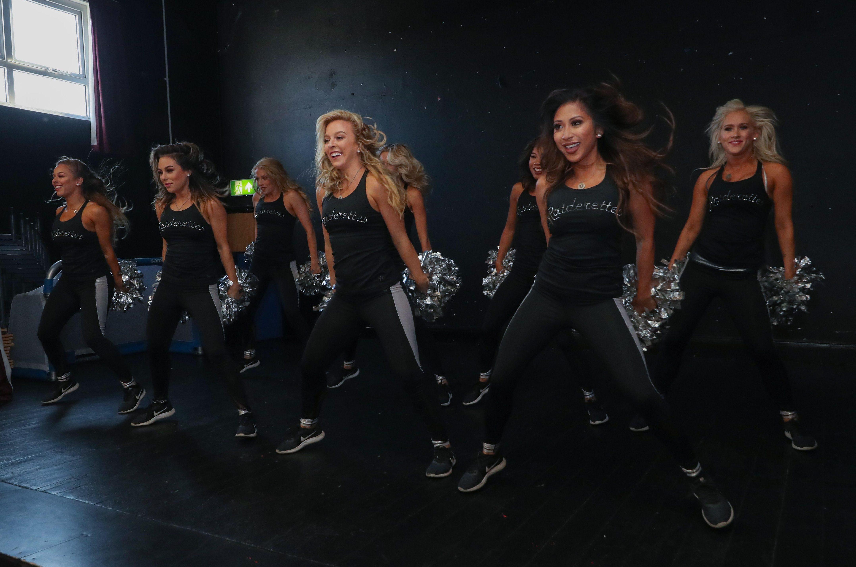 The Oakland Raiders cheerleaders in action ahead of Sunday night