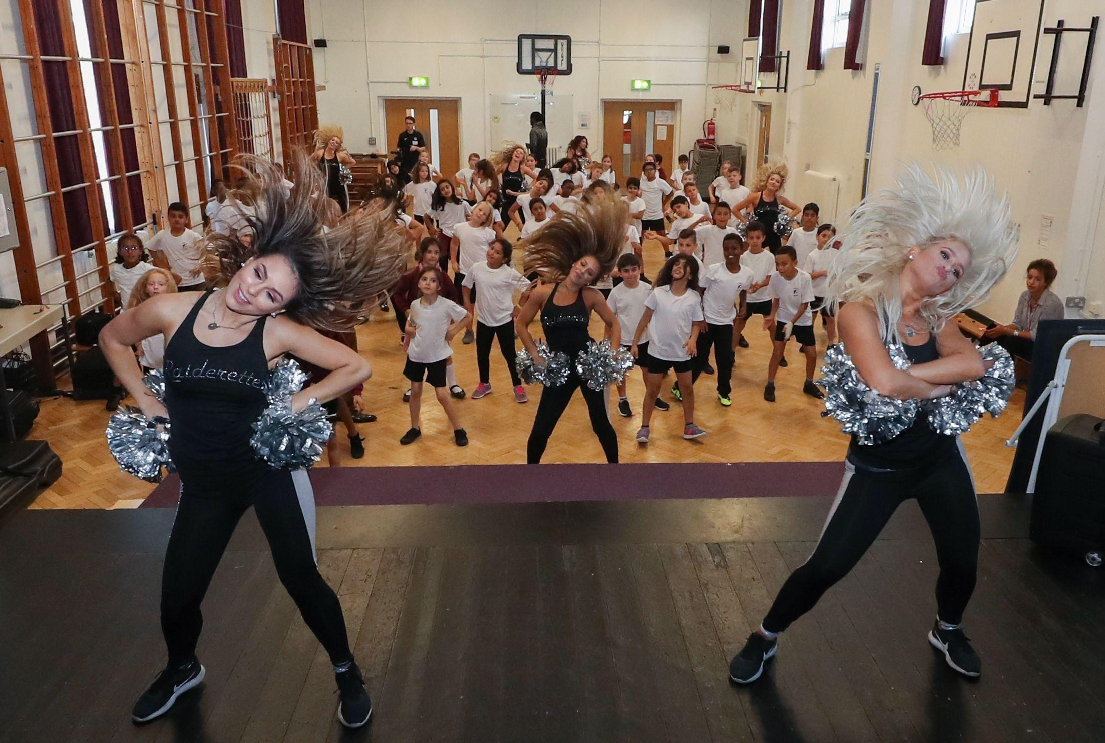 Teachers of the Raiderettes will have been right at home instructing the school children