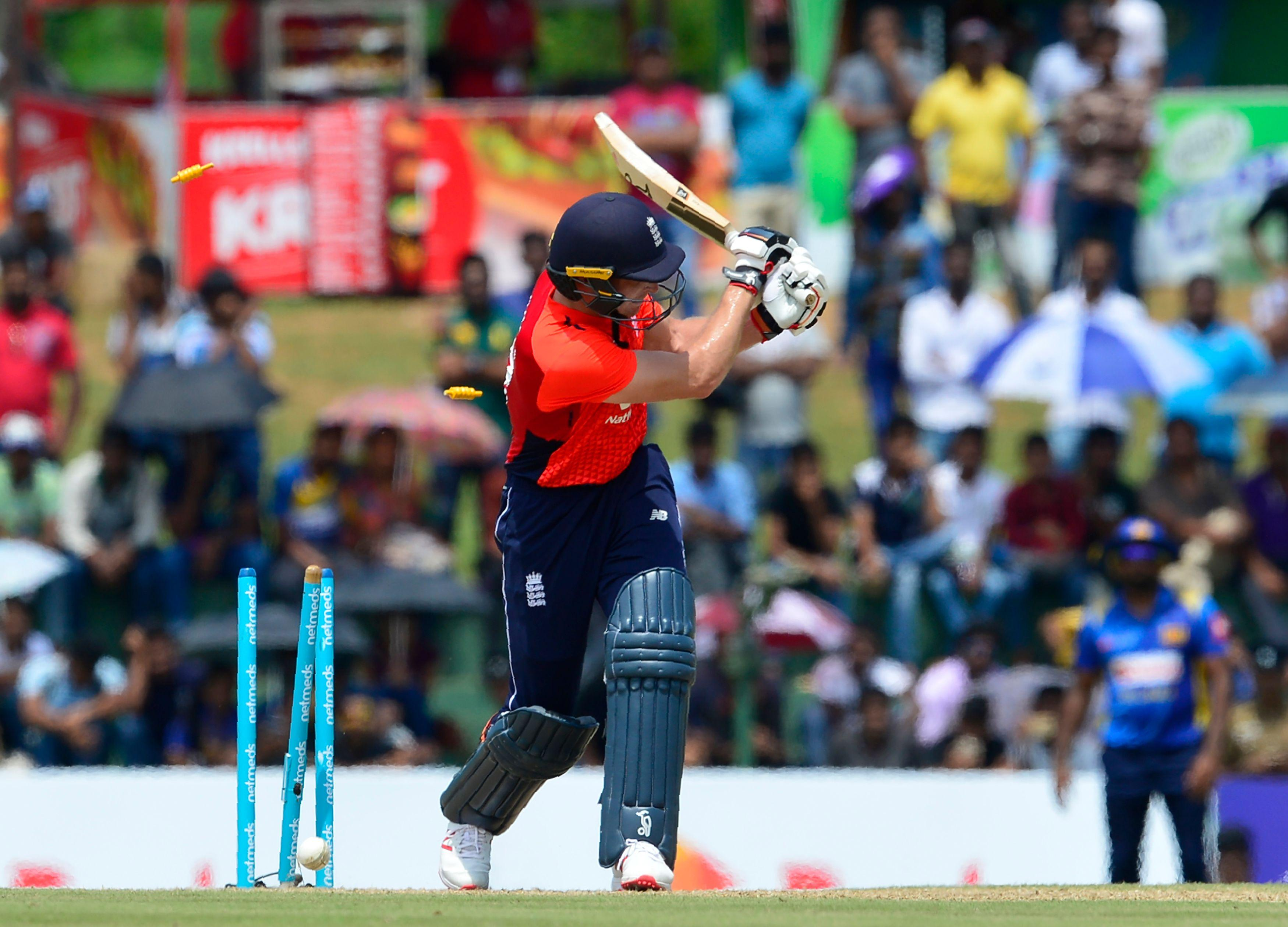 Jos Buttler notched up 28 runs before being bowled by Nuwan Pradeep