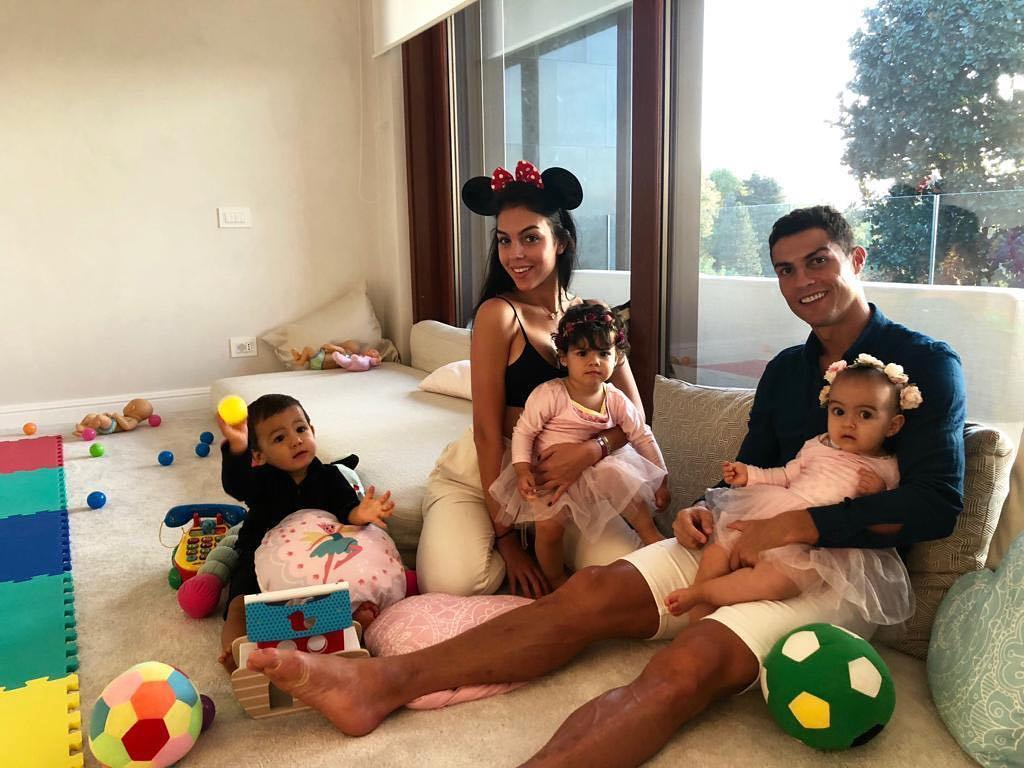 Ronaldo shared this Instagram image this week with his partner Georgina Rodriguez and three kids