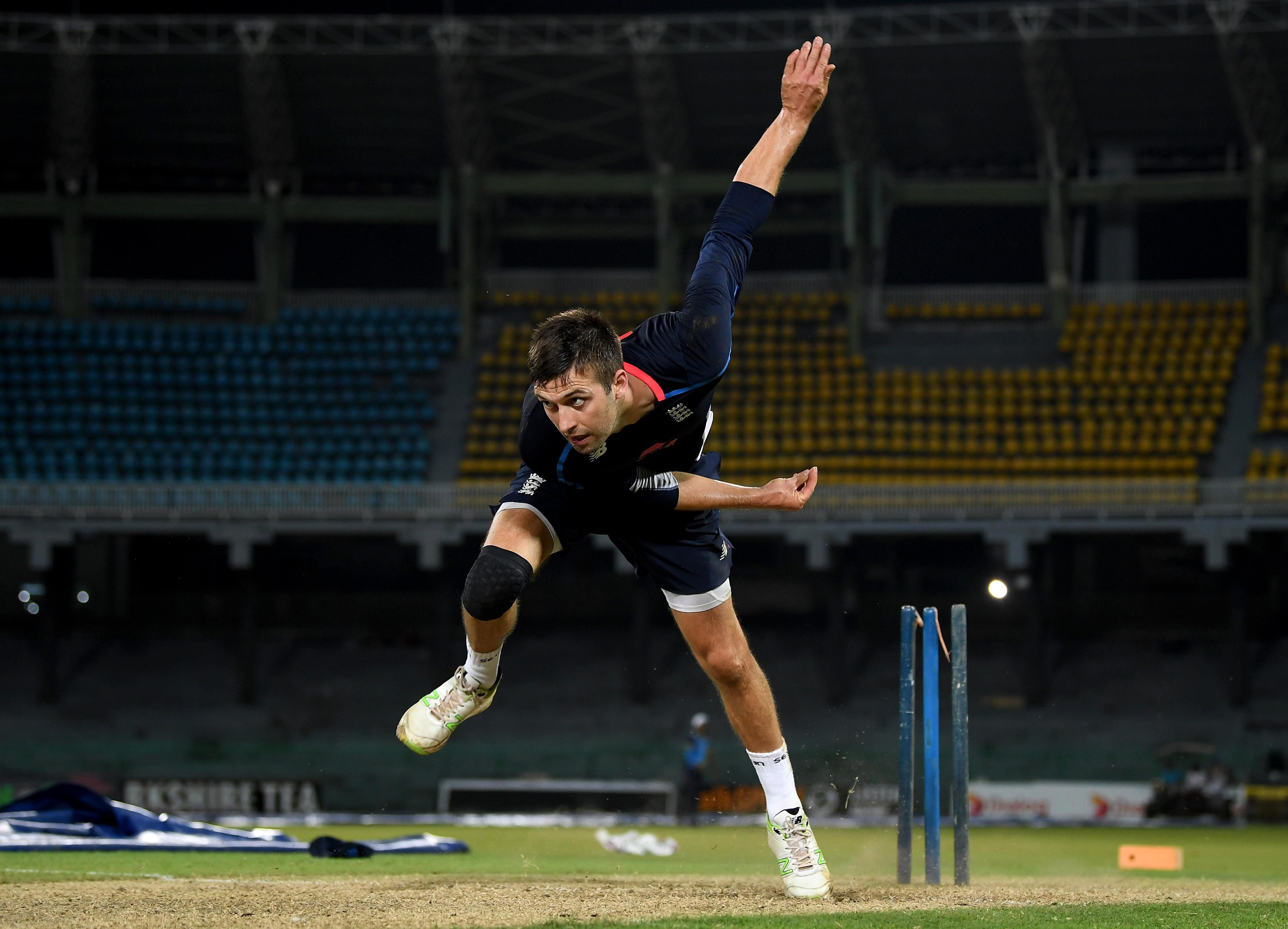 Warwickshire paceman Mark Wood warms up for his belated tour introduction