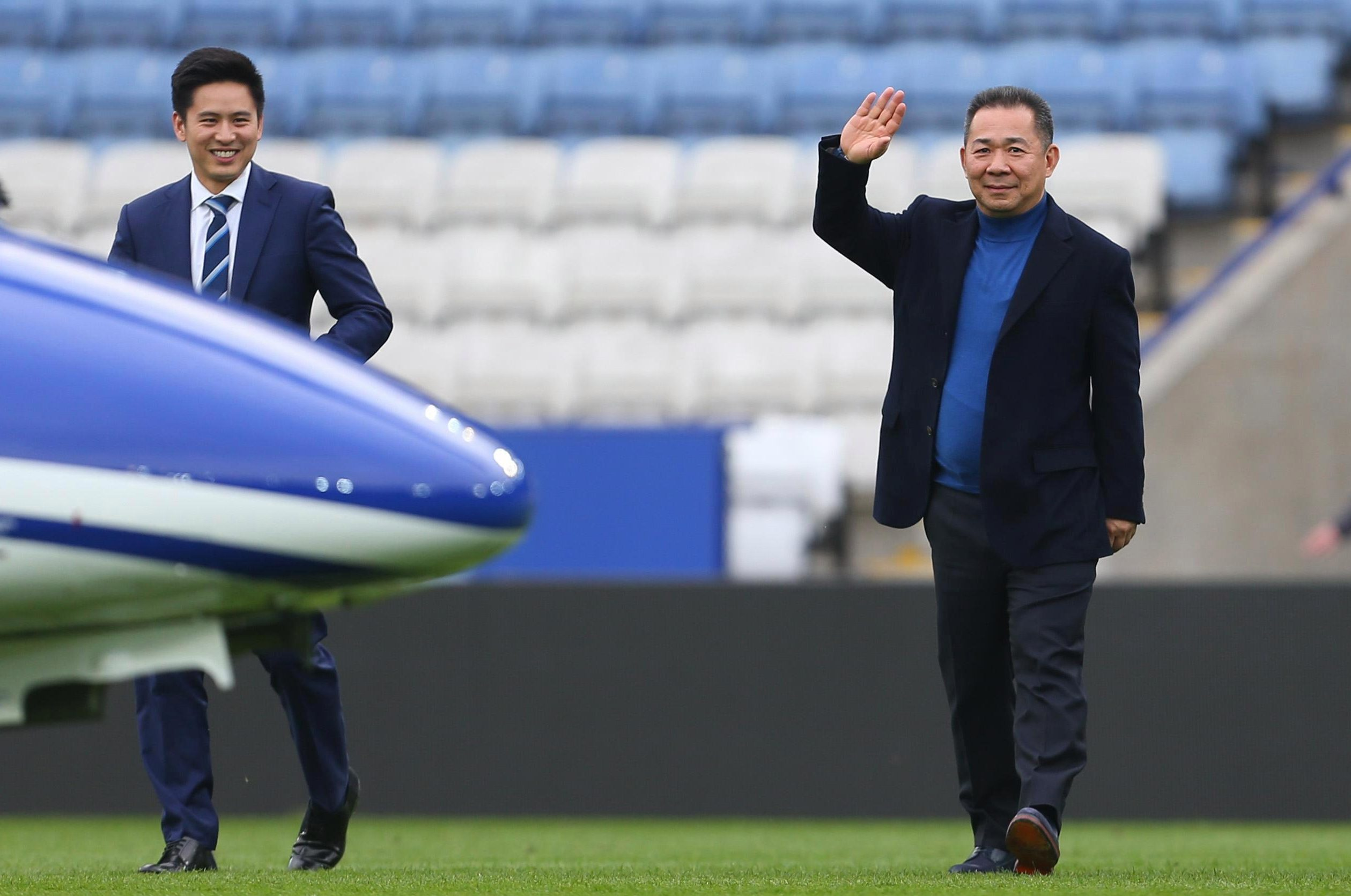 Vichai Srivaddhanaprabha walking to the helicopter after a game in 2016
