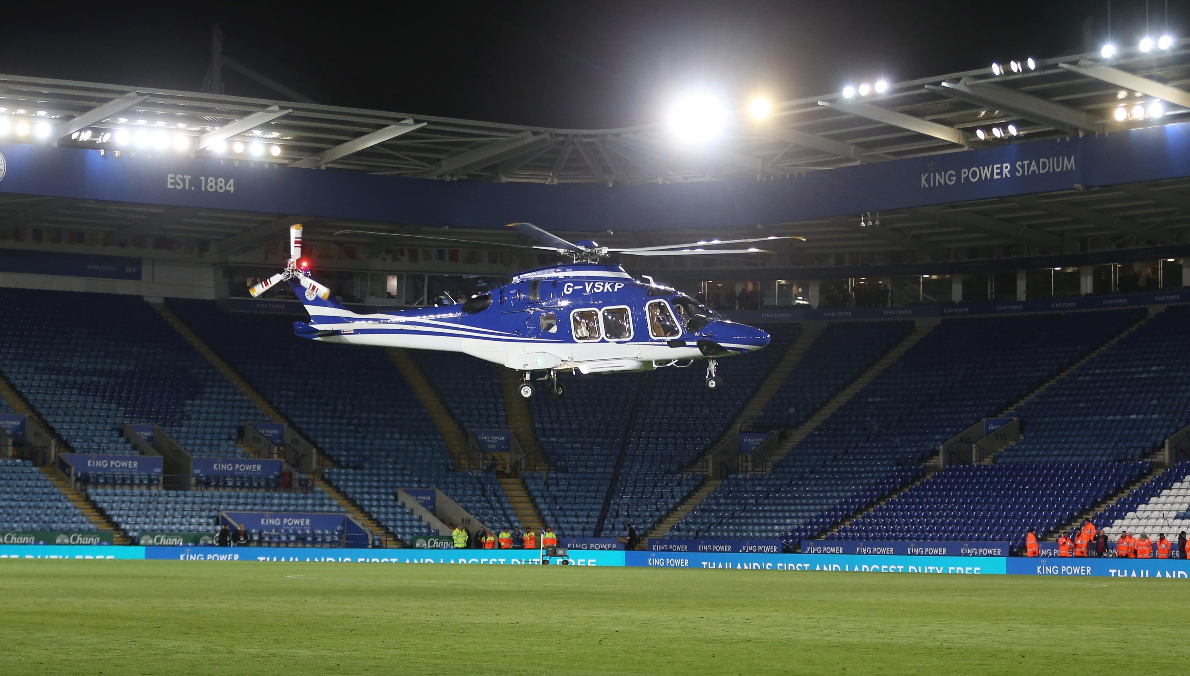 The helicopter was seen landing on the pitch after the final whistle