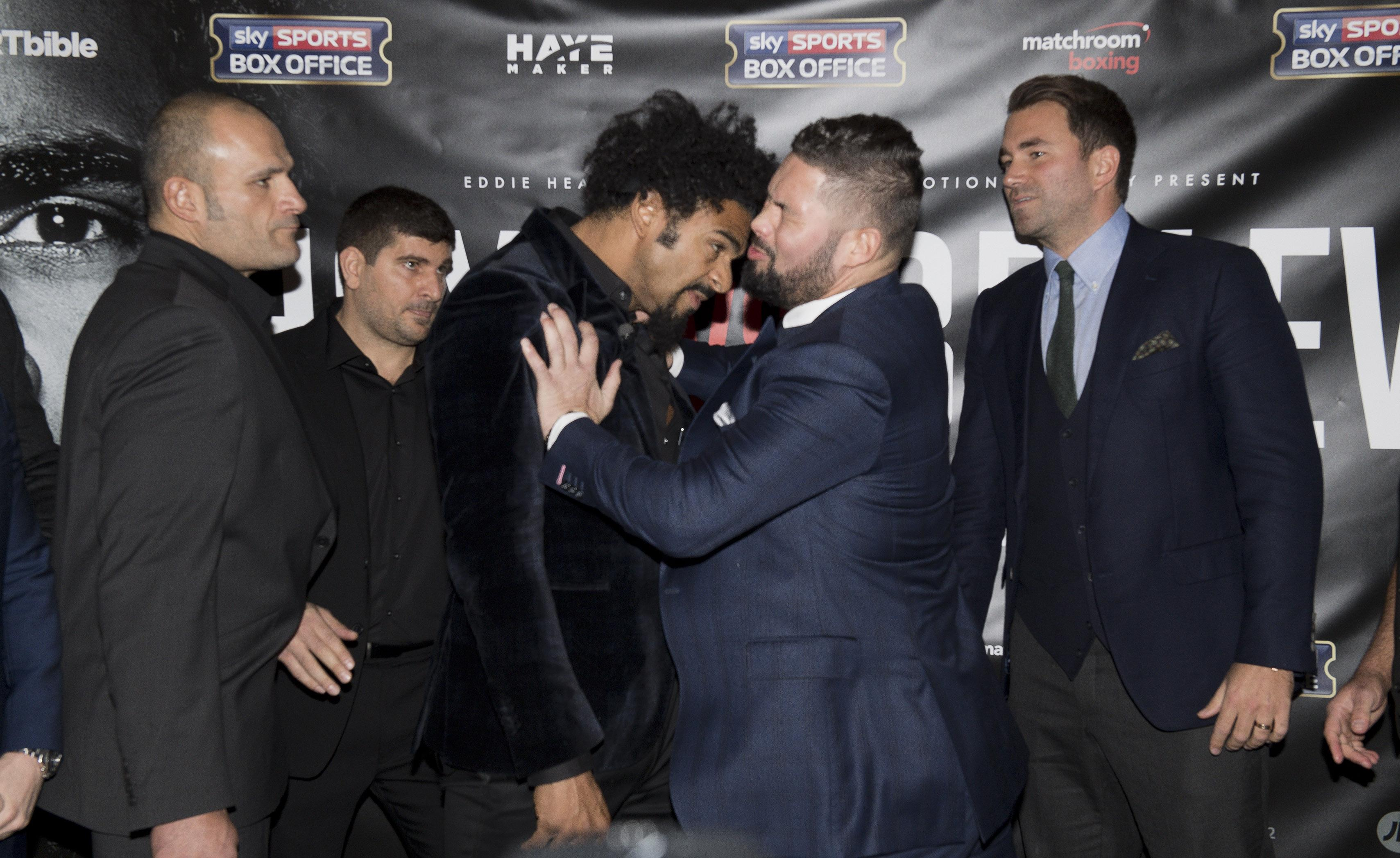 The two clashed at pre-fight press conferences with Haye even punching Bellew at one