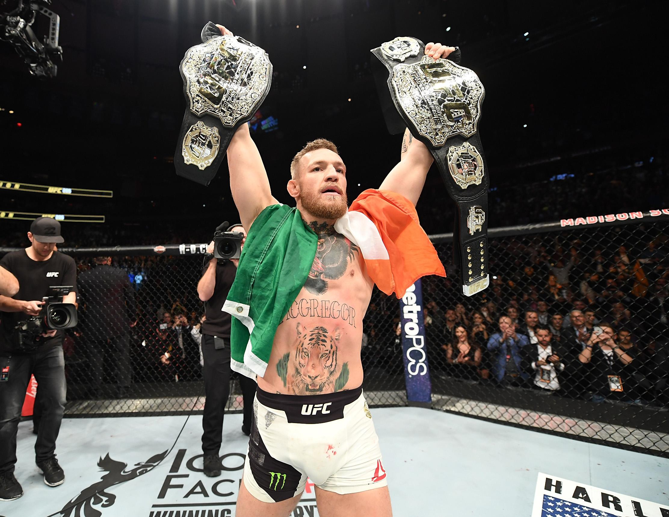 Former featherweight champ McGregor added the lightweight title to hiis name after beating Eddie Alvarez at UFC 205 in 2016