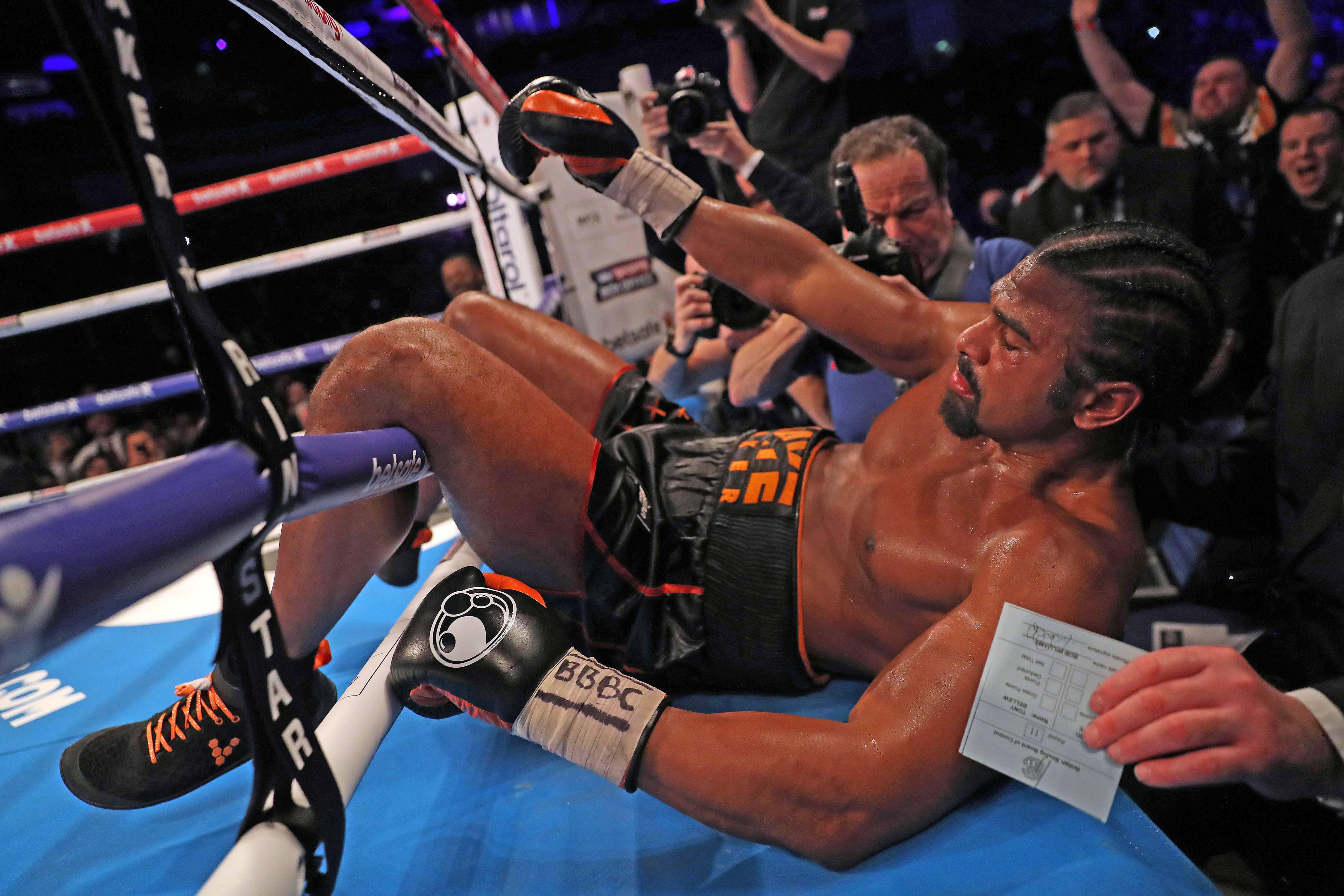 The former two-weight world champ was knocked through the ropes - but Haye amazingly got to his feet before the fight was stopped