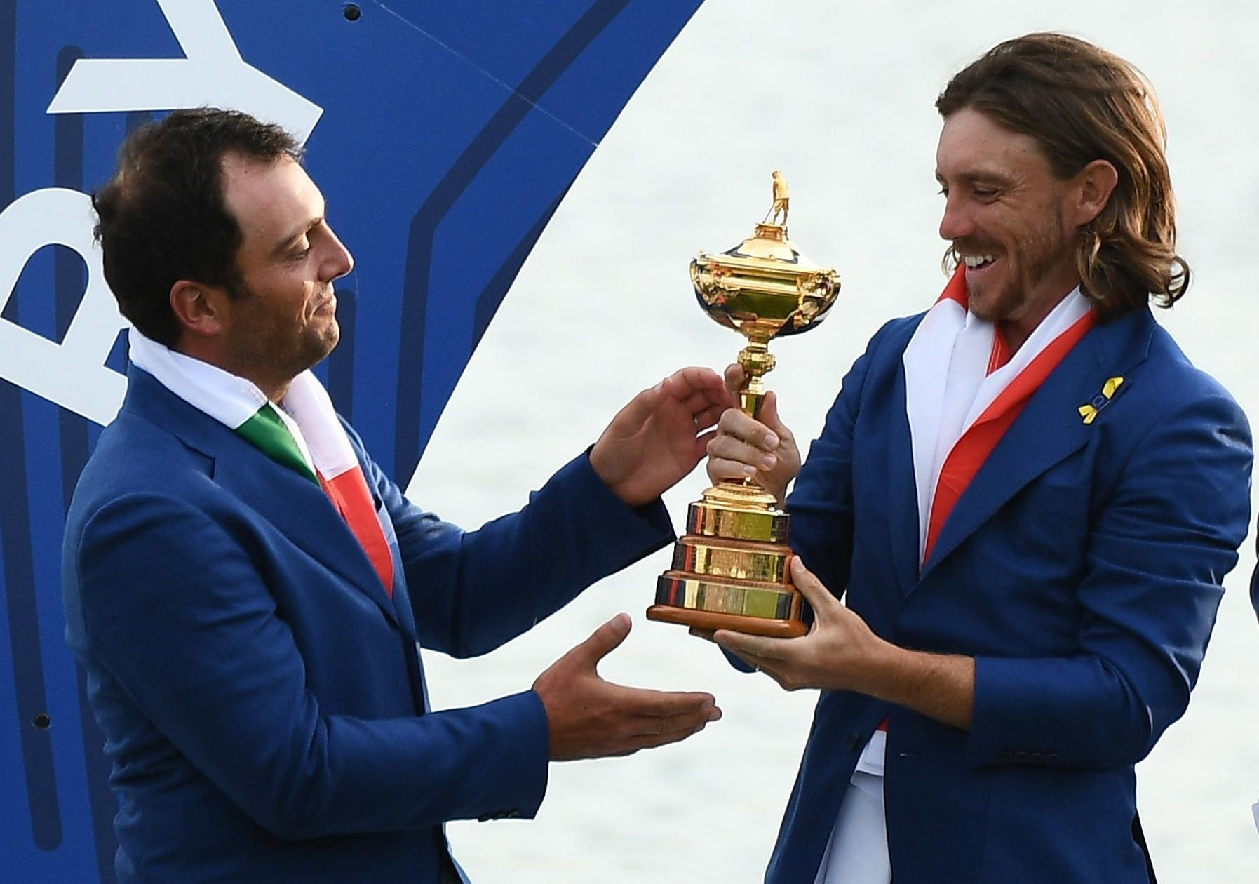 Englishman Tommy Fleetwood and Italian Francesco Molinari celebrate winning the Ryder Cup over the USA in September