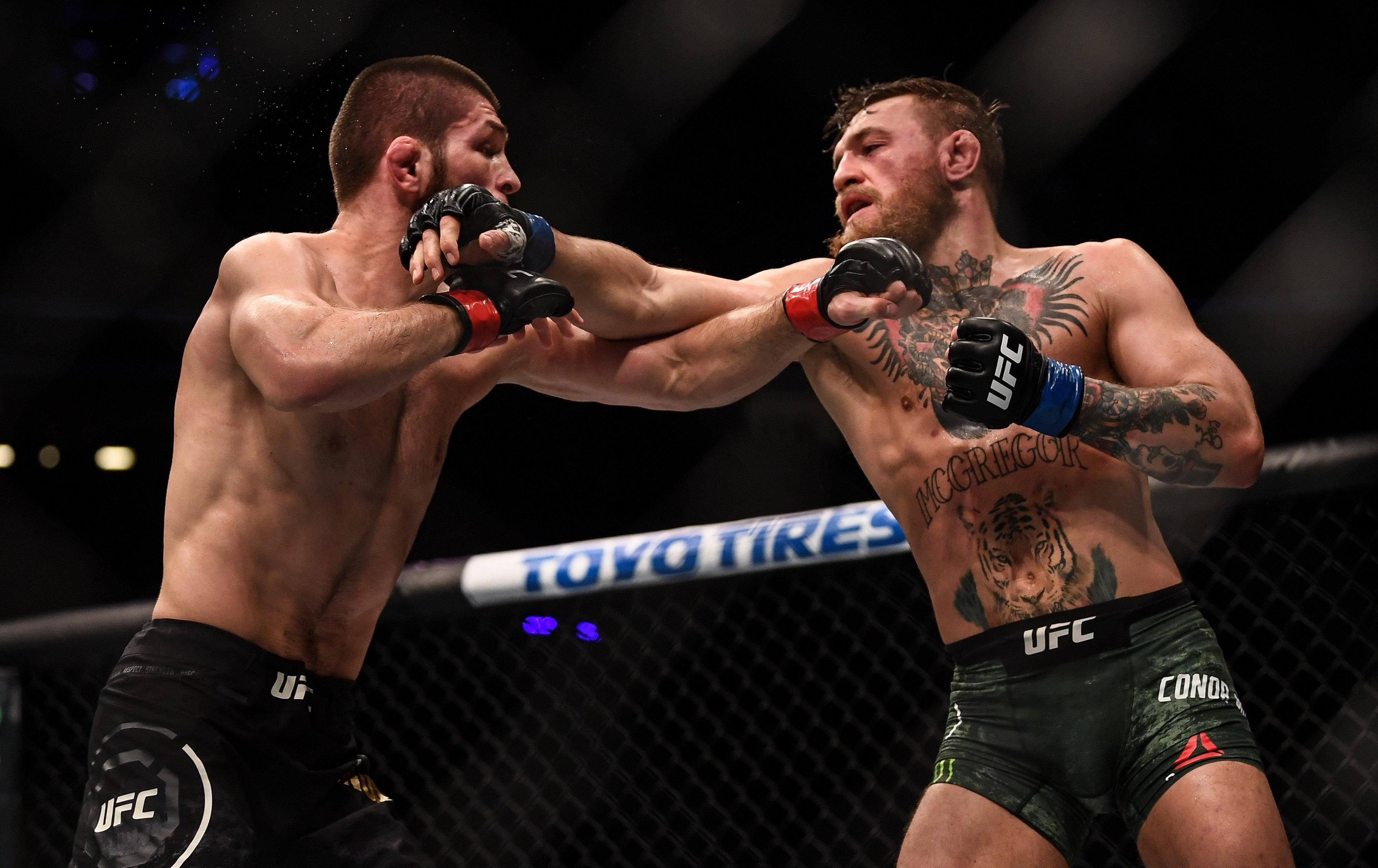 Nurmagomedov dropped McGregor with a right hand in round two of their bout - before ending the fight via submission in the fourth