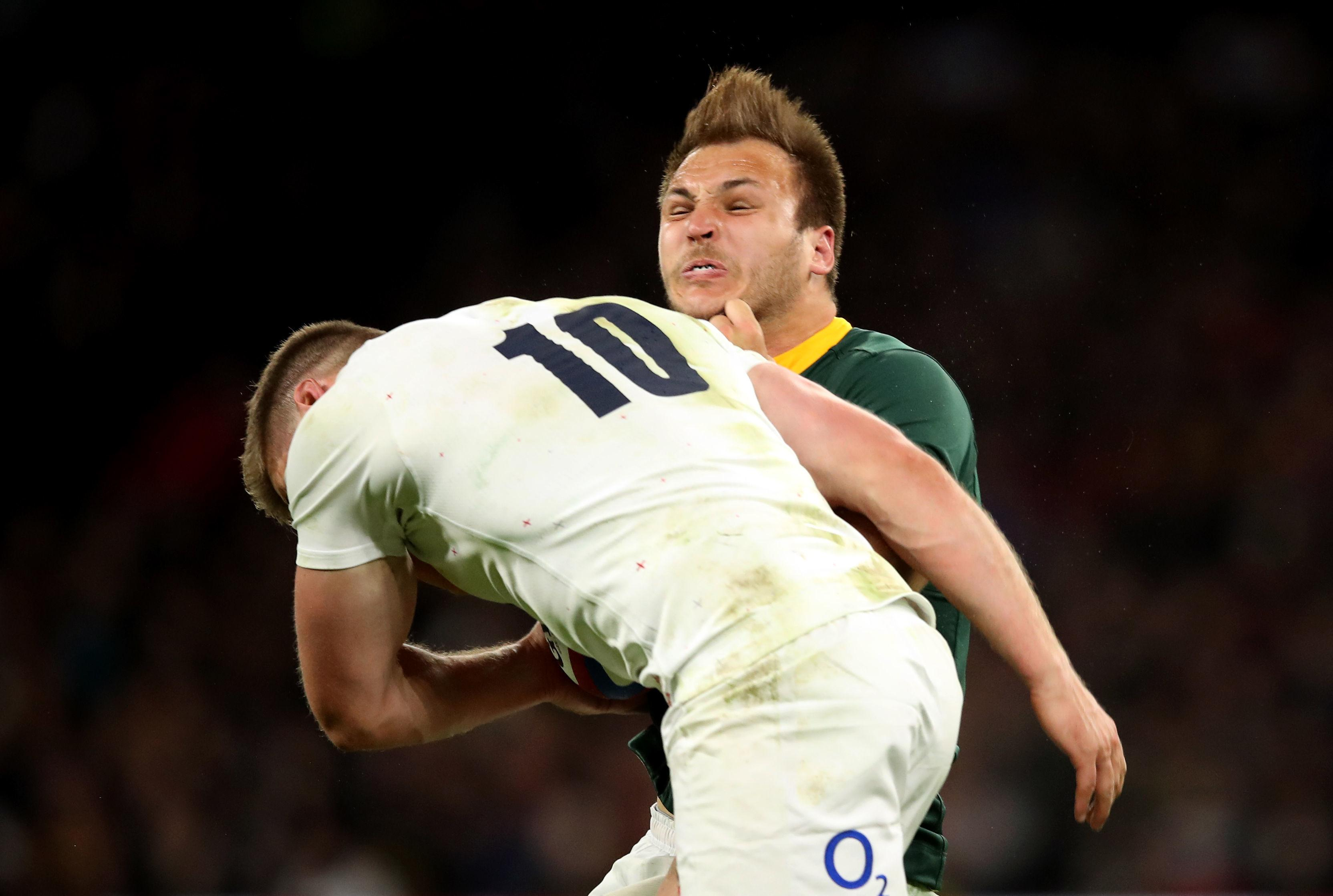 Owen Farrell has been cleared of an illegal tackle for his hit on Andre Esterhuizen