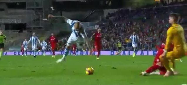 And over he goes! - as Sandro Ramirez trips up in front of goal and flies upwards