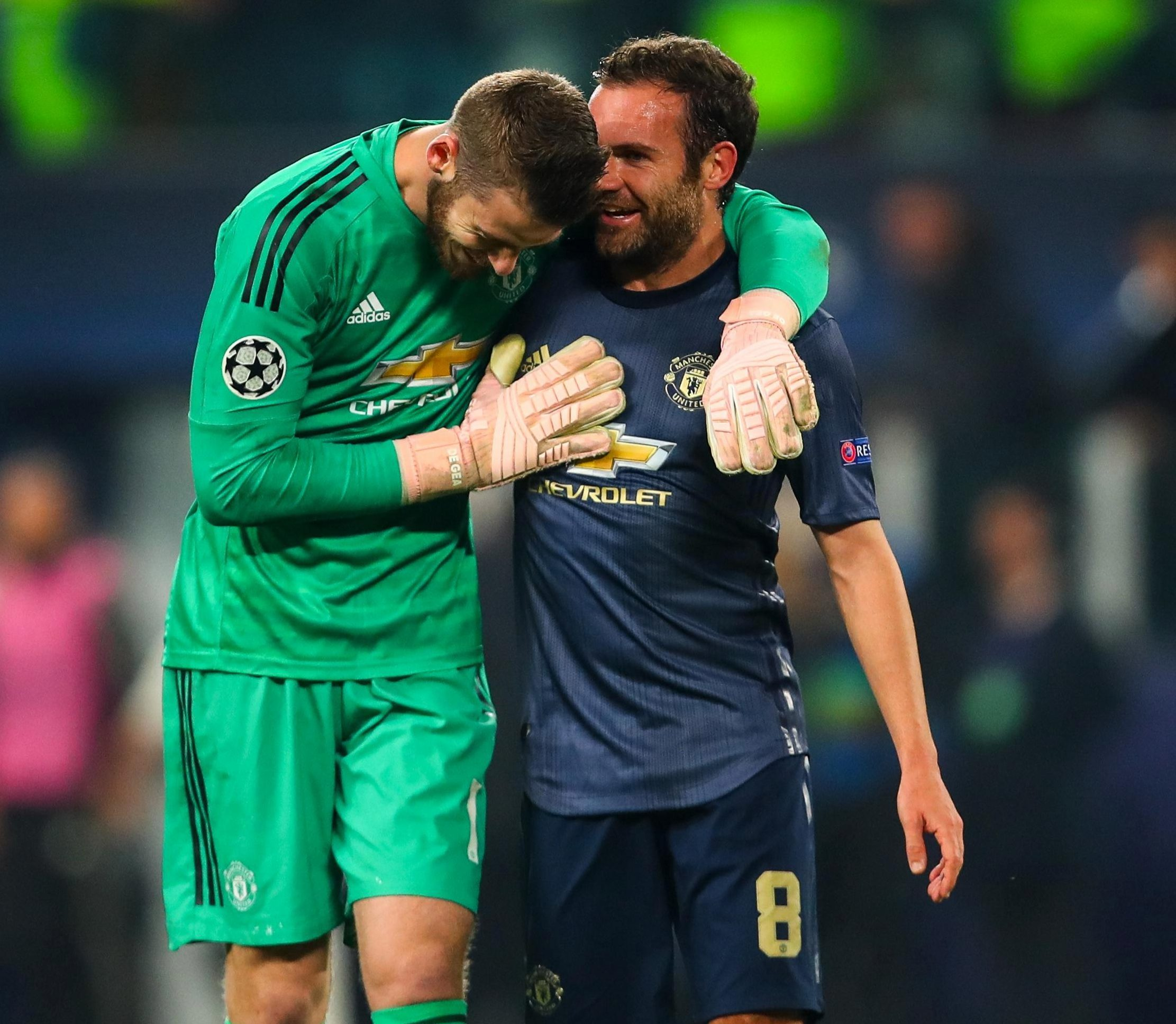 David De Gea, who made a number of fine saves, celebrates the win with his compatriot and scorer Juan Mata