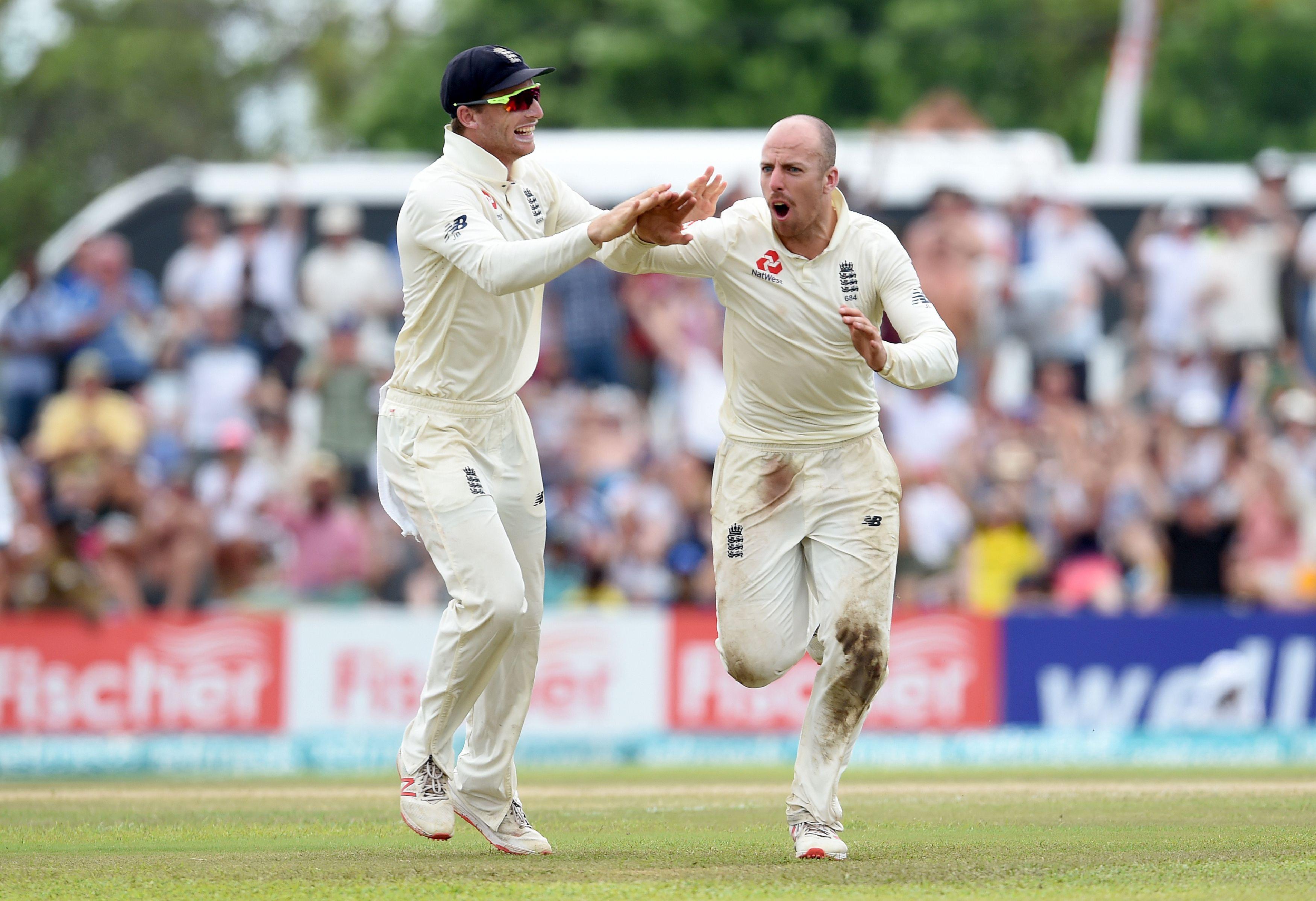 Somerset left-armer Jack Leach took 3-60 as Sri Lanka were bowled over