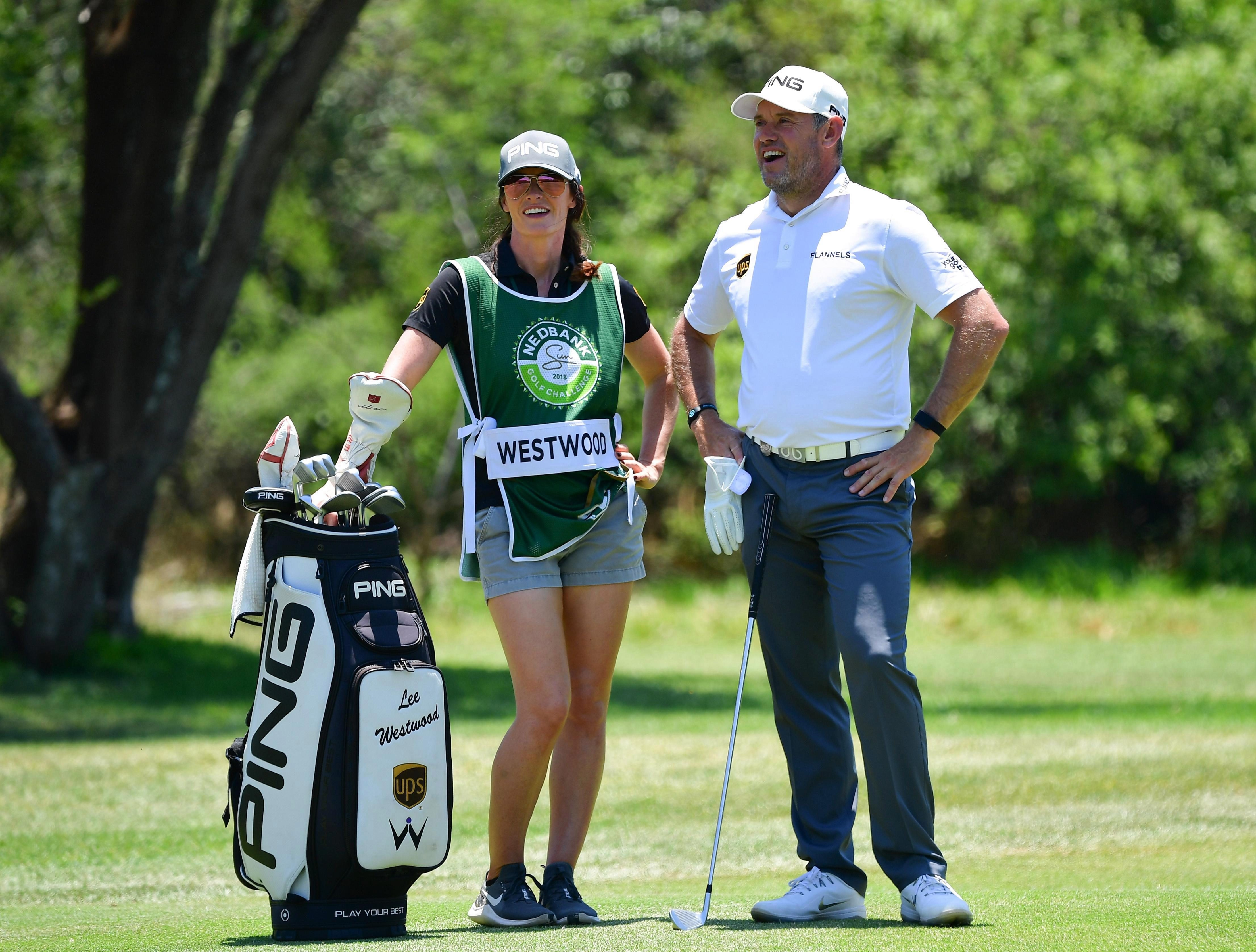 Helen Storey has been a regular caddy for Lee Westwood in recent competitions