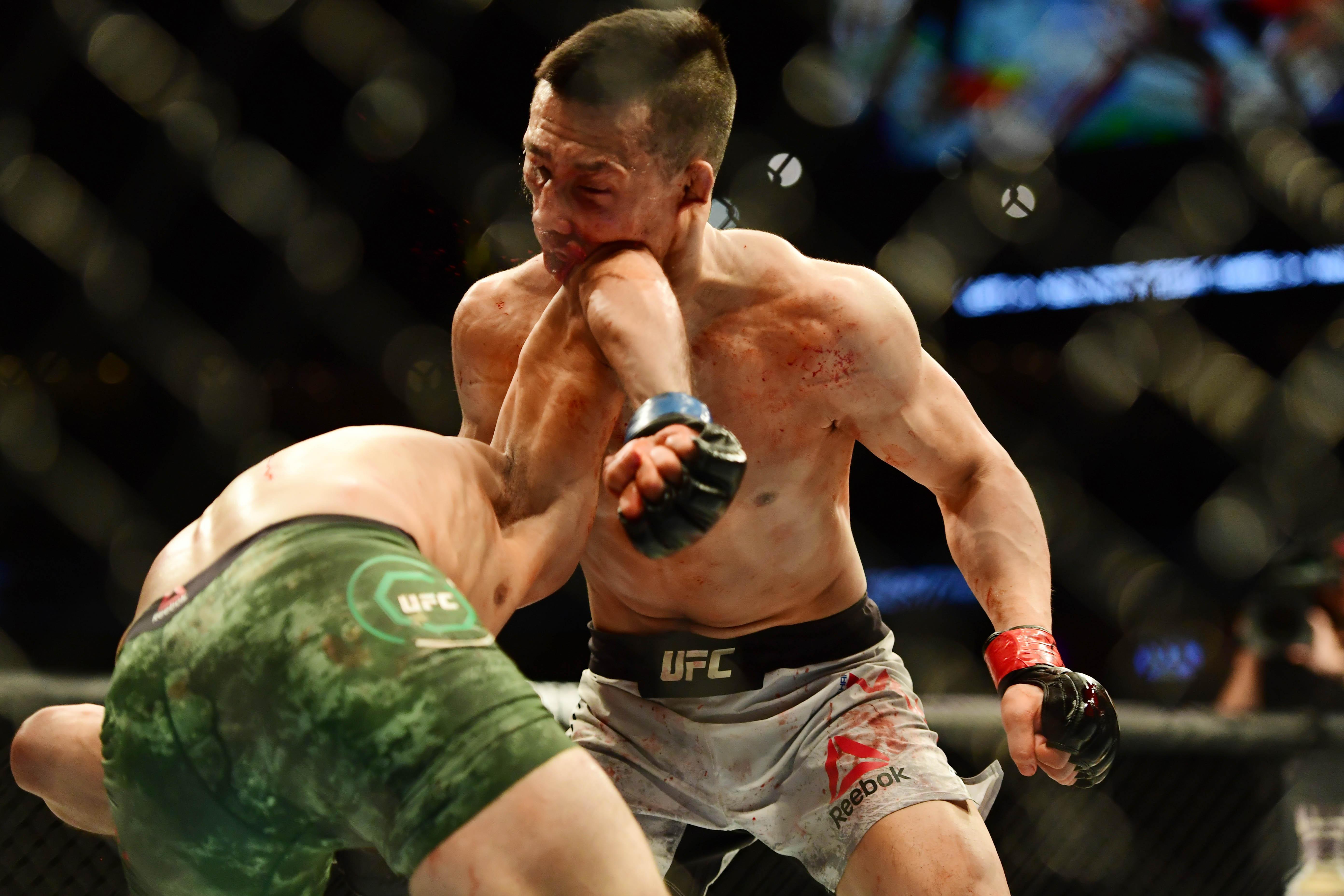 Yair Rodriguez produced a stunning backward upward elbow to beat Chan Sung Jung last night