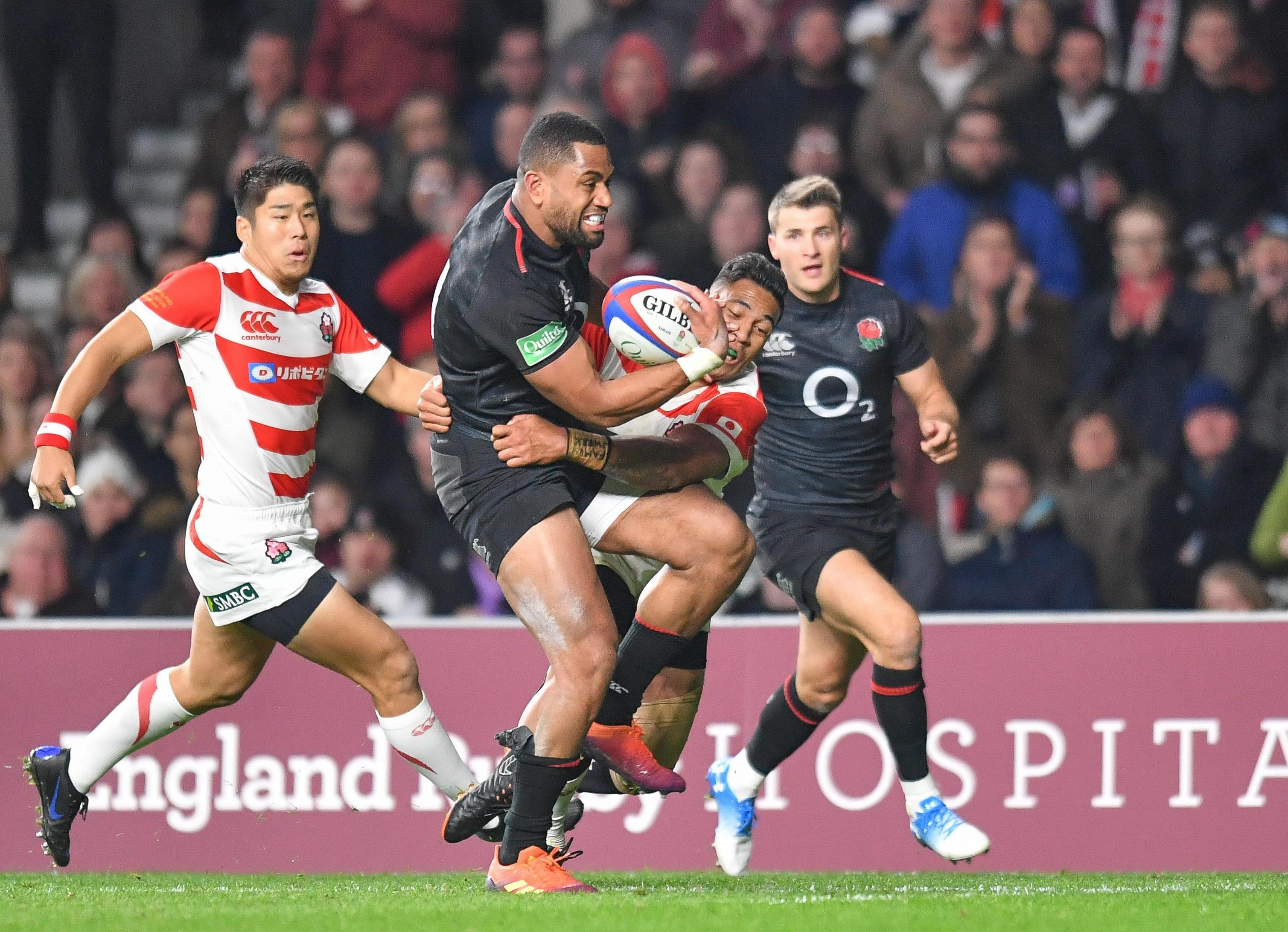 Joe Cokanasiga touches down as England romped home in the second half