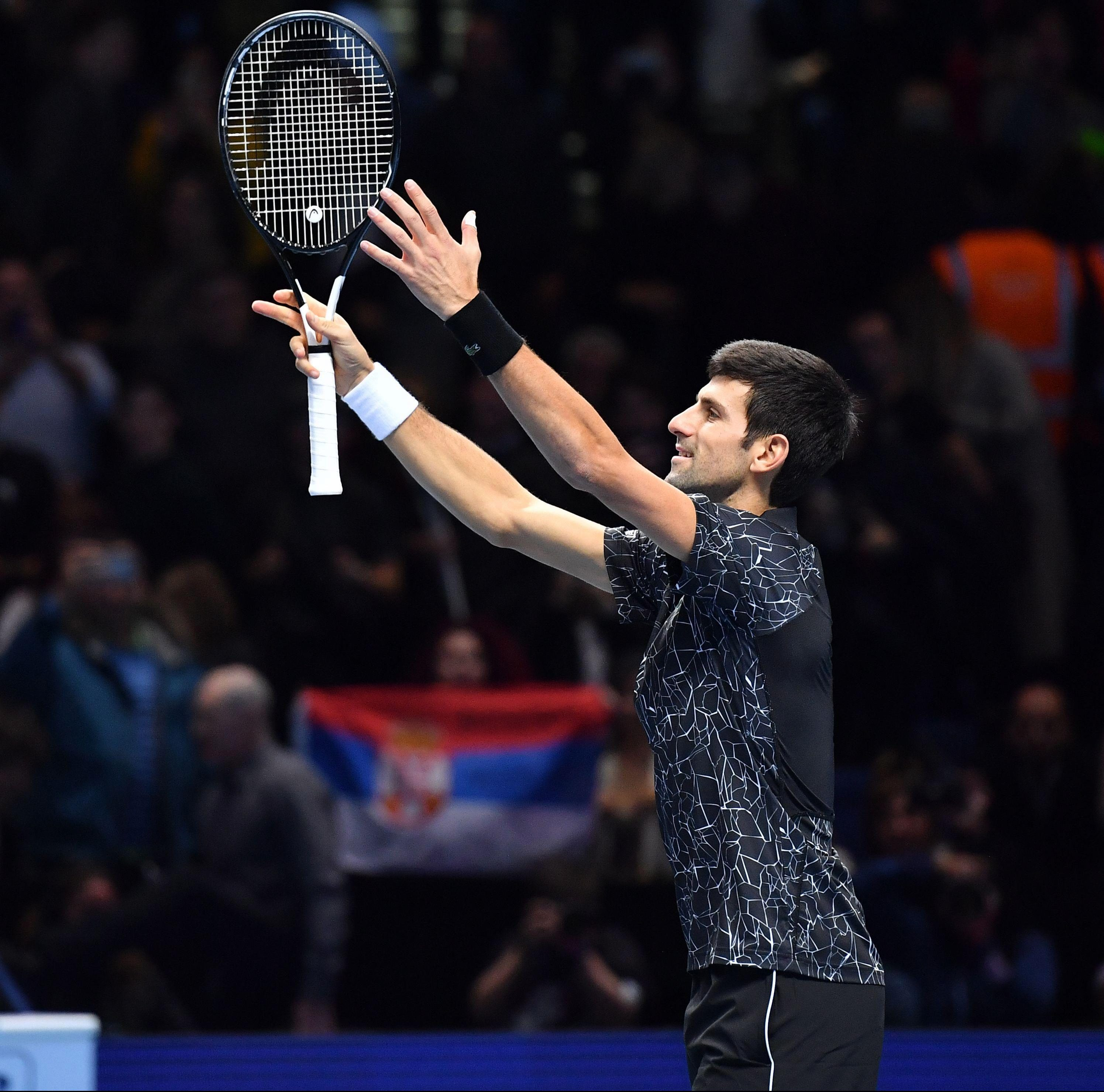 ATP Finals star Novak Djokovic threw his racket into the air