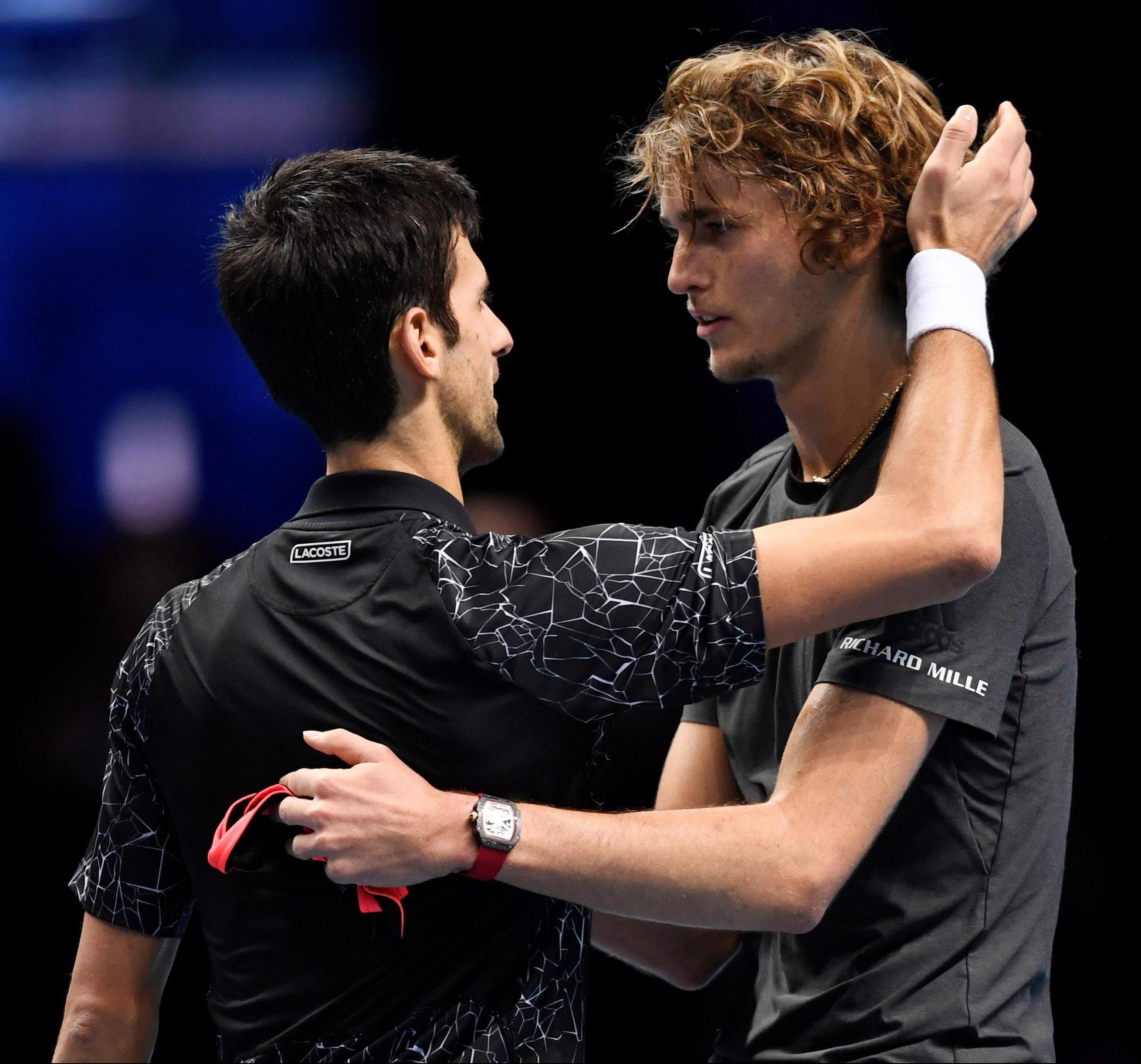 Novak Djokovic congratulates Alexander Zverev after the German followed up the scalp of Roger Federer with another huge win