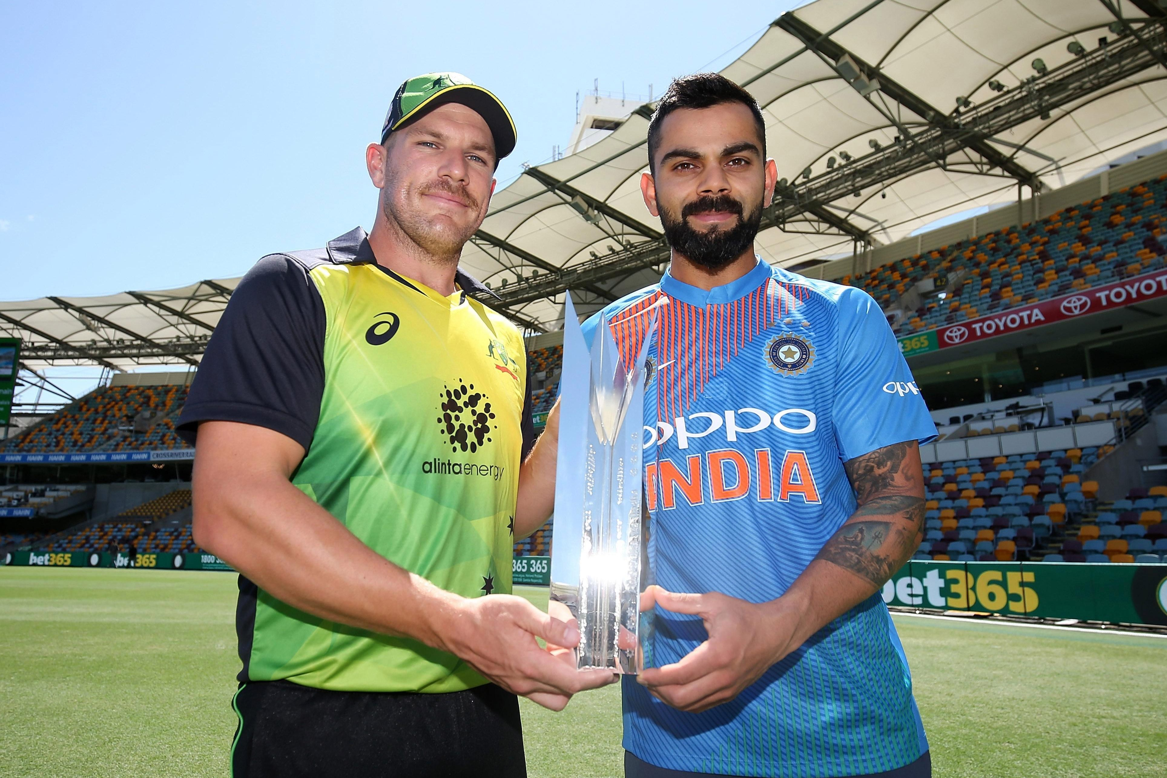 Captains Aaron Finch and Virat Kohli ahead of opener at The Gabba