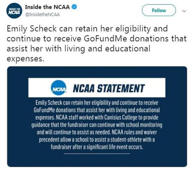 La NCAA le ha permesso di mantenere il denaro raccolto per finanziare la sua istruzione