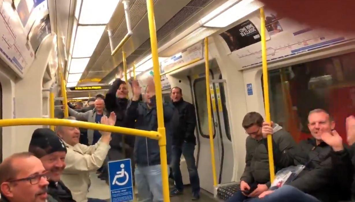 He was spotted by jubilant Spurs fans on the Metropolitan line and videoed the chanting