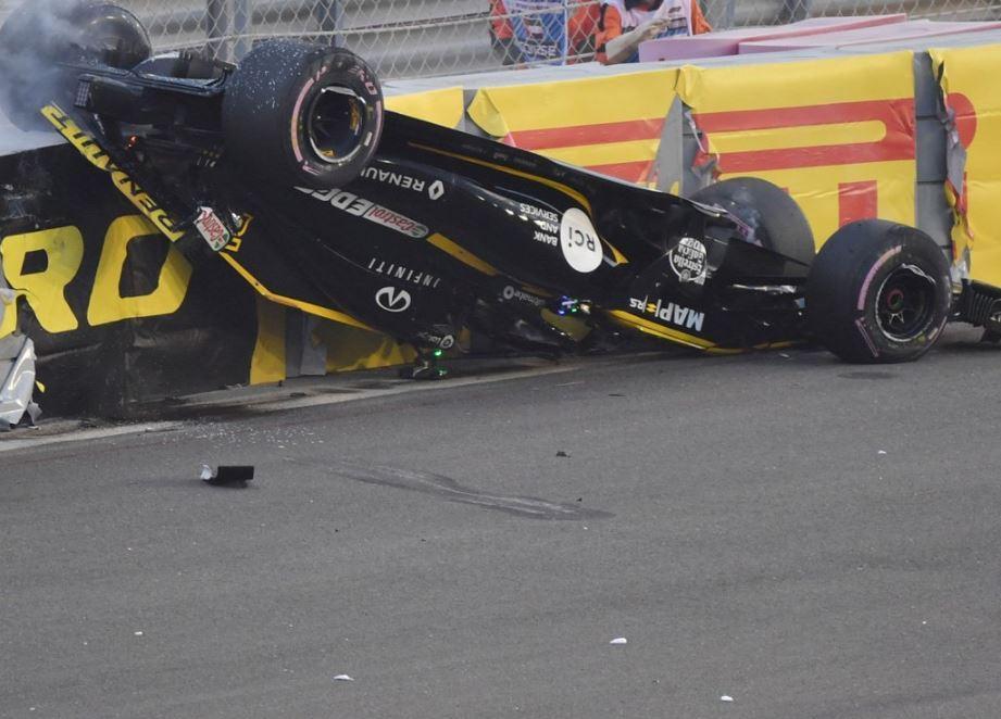 Nico Hulkenberg's Renault ended up upside down after the incredible smash
