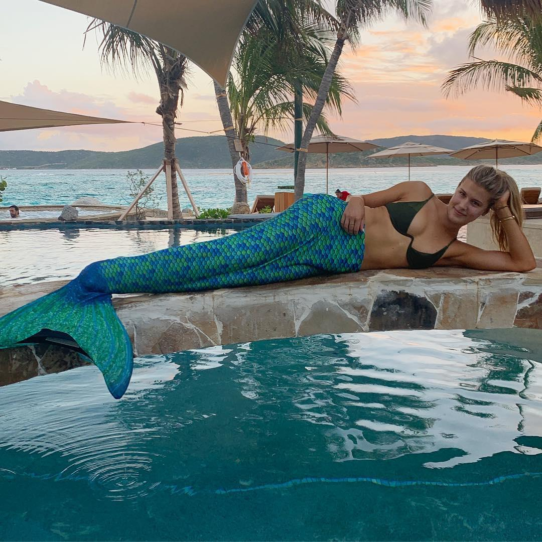 Eugenie Bouchard strikes a pose in her unusual mermaid outfit
